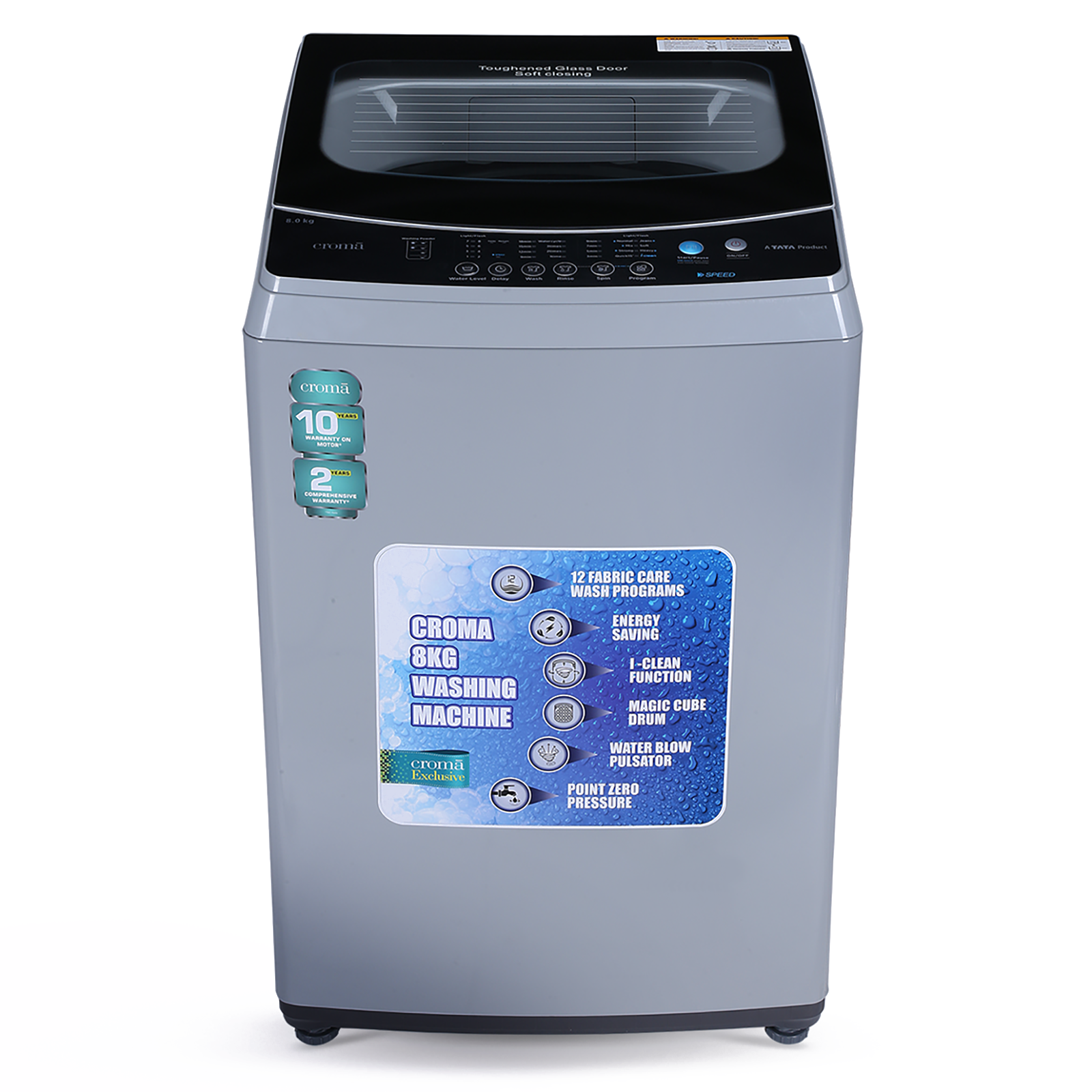 Croma 8 Kg Fully Automatic Top Load Washing Machine (CRAW1402, Grey)_1