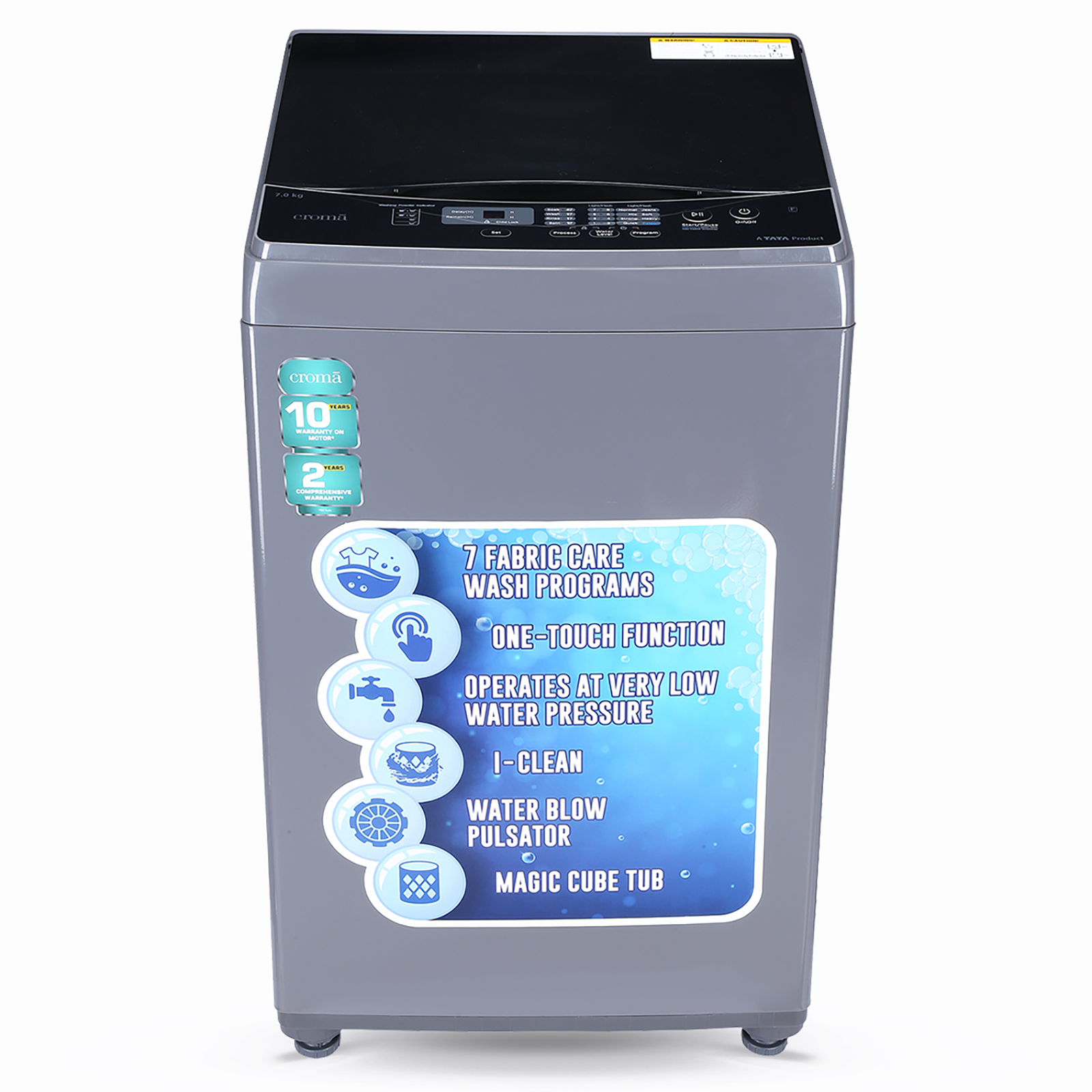 Croma 7 Kg Fully Automatic Top Load Washing Machine (i-Clean Technology, CRAW1403, Grey)_1