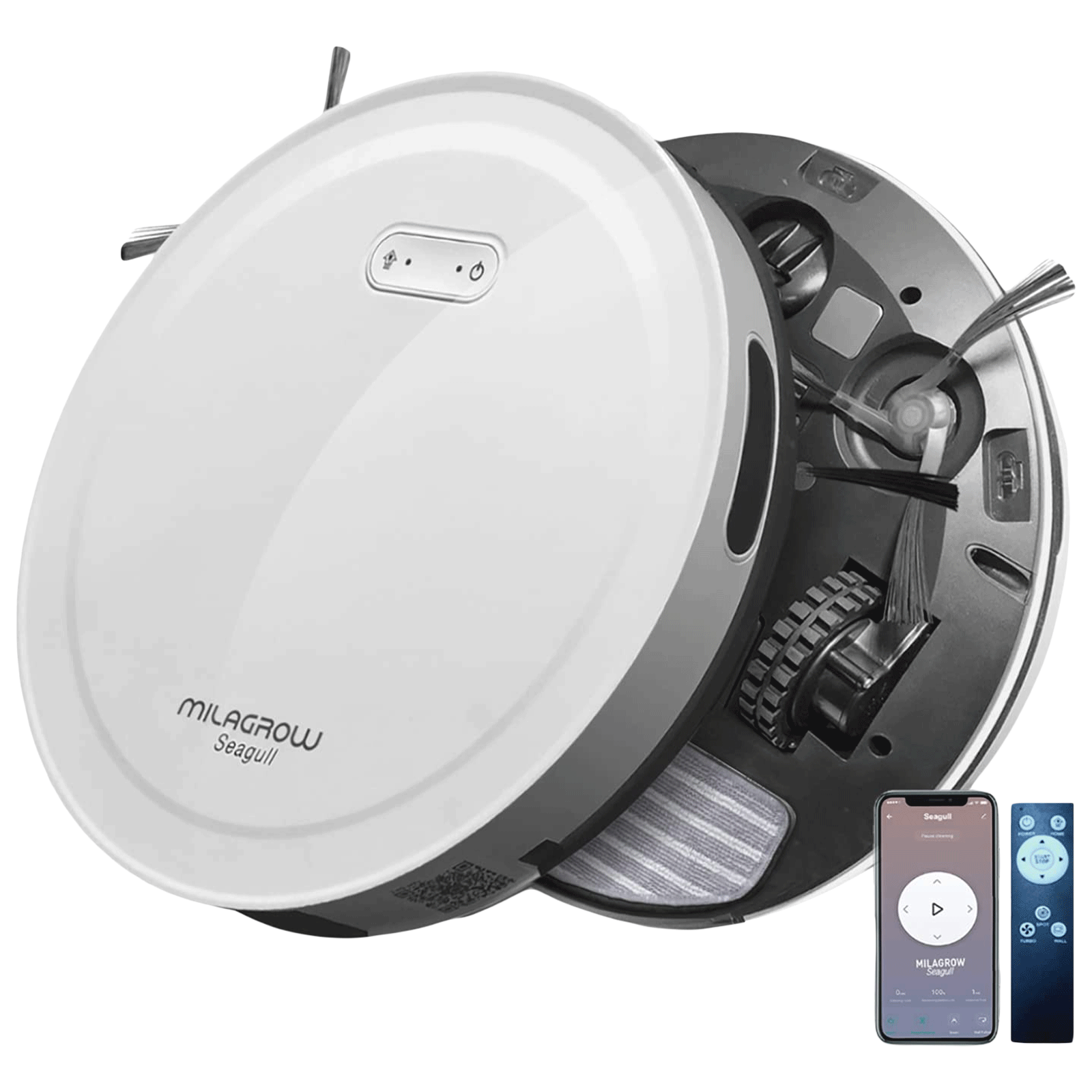 Milagrow Seagull Agua 30 Watts Robotic Vacuum Cleaner (0.55 Litres Tank, White)_1
