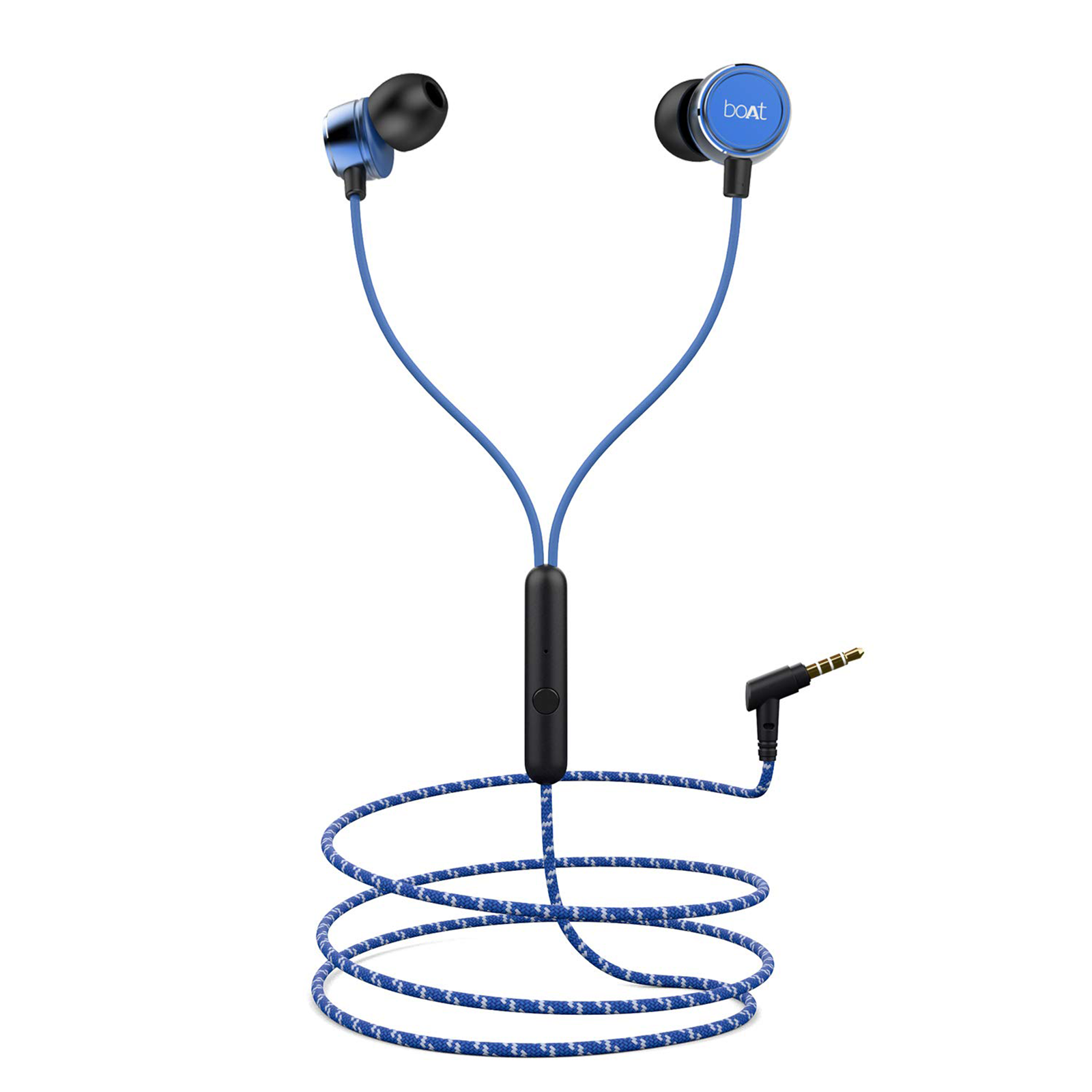 Buy boAt In-Ear Wired Earphone with Mic(Premium Metallic Finish, Bassheads 182, Jazzy Blue) Online_1