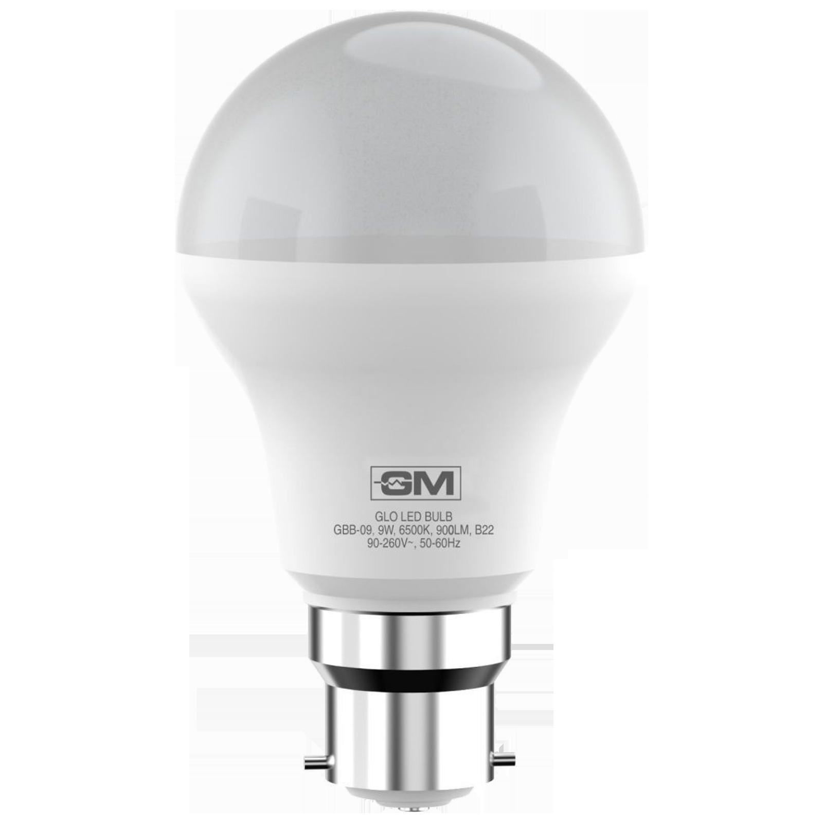 GM GLO 9 Watts Electric Powered LED Bulb (900 Lumens, GBB-09-6.5K-6500K, White)_1