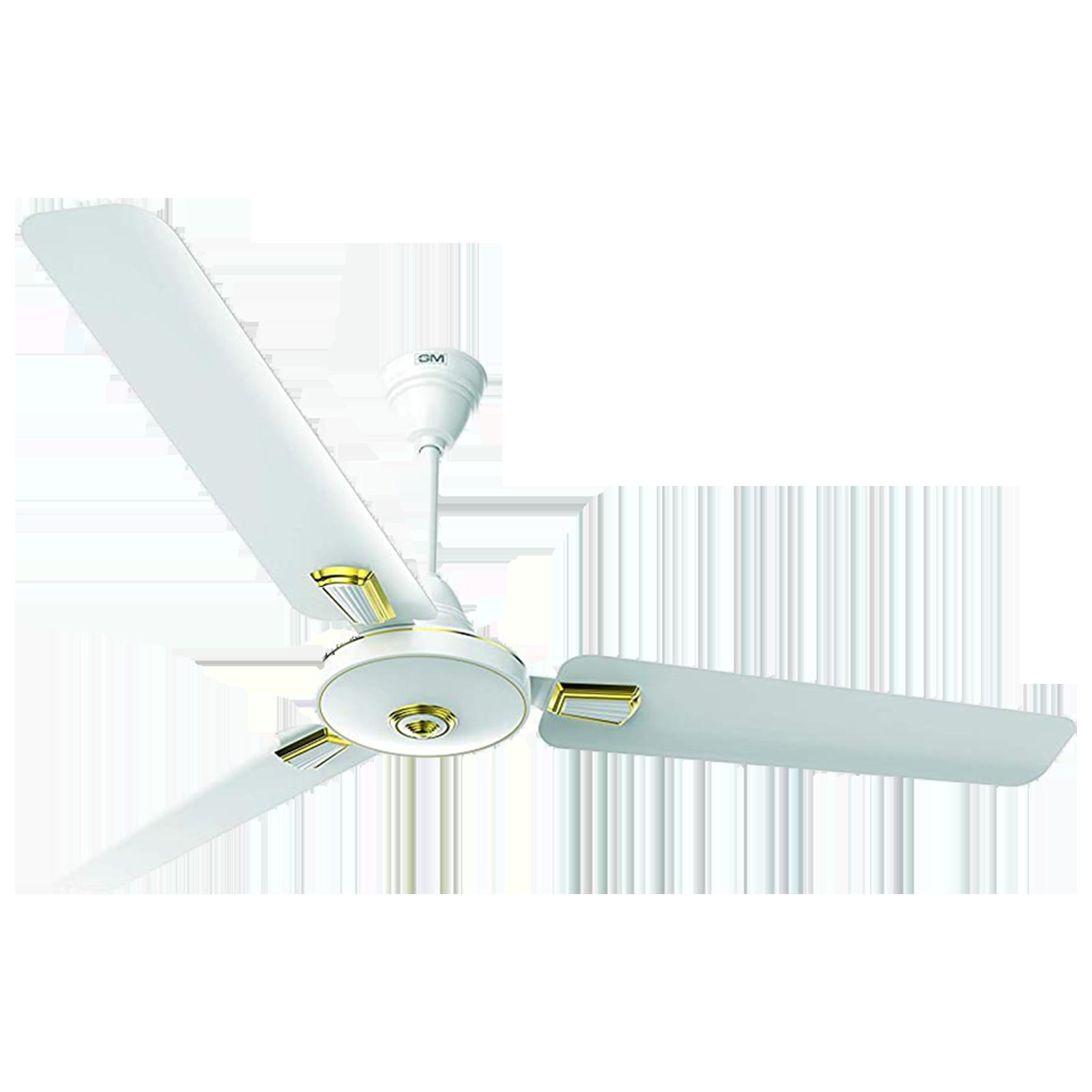 GM AIR9 Plus Deco 120 cm Sweep 3 Blade Ceiling Fan (Aerodynamically Designed Blades, CFB480033WHGL, White)_1