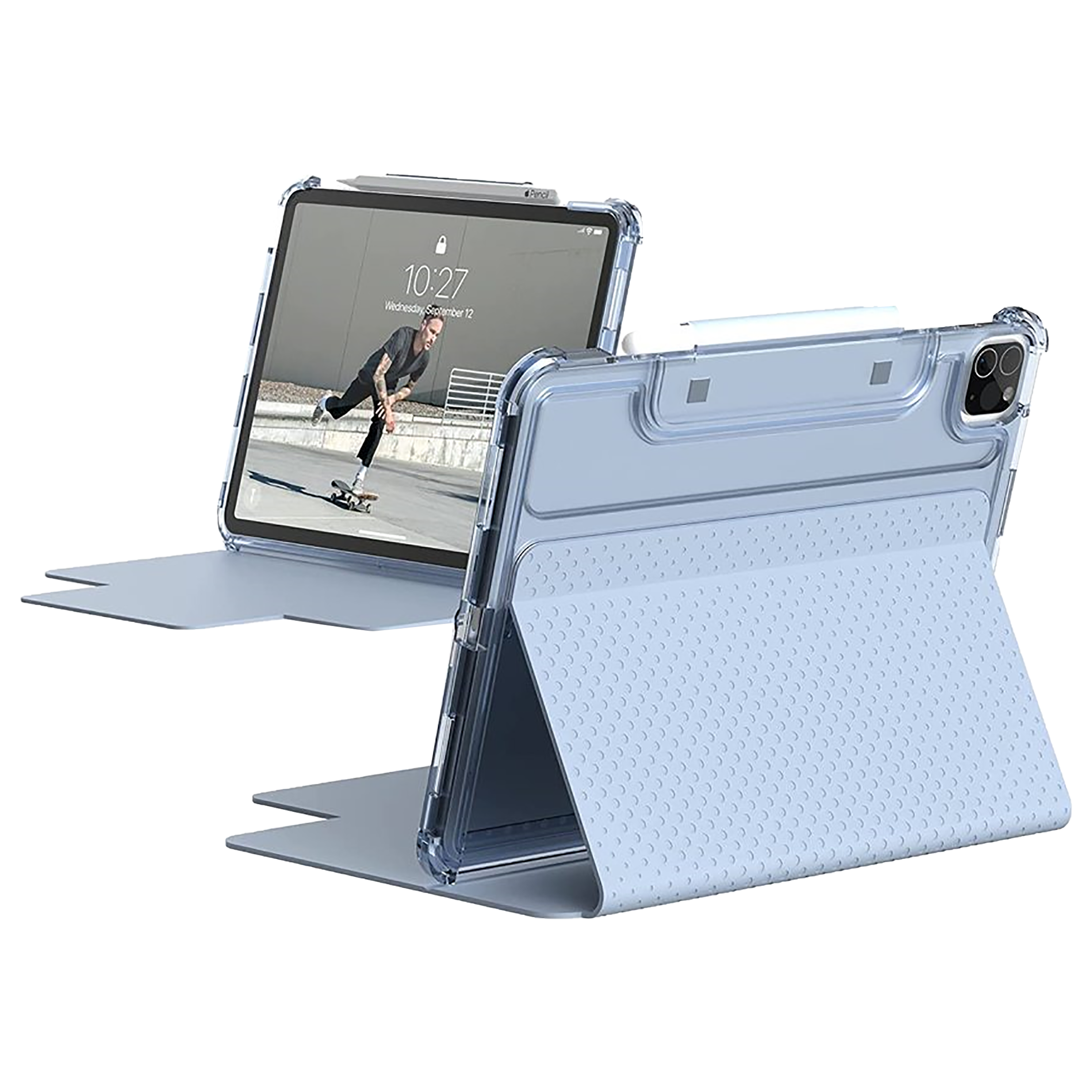 UAG Lucent Polycarbonate Flip Case with Stand For Apple iPad Pro 11 Inch / iPad Air 4 (10.9 Inch) (Built-In Apple Pencil Holder, UGLU_IPD11PG3_BU, Soft Blue)_1
