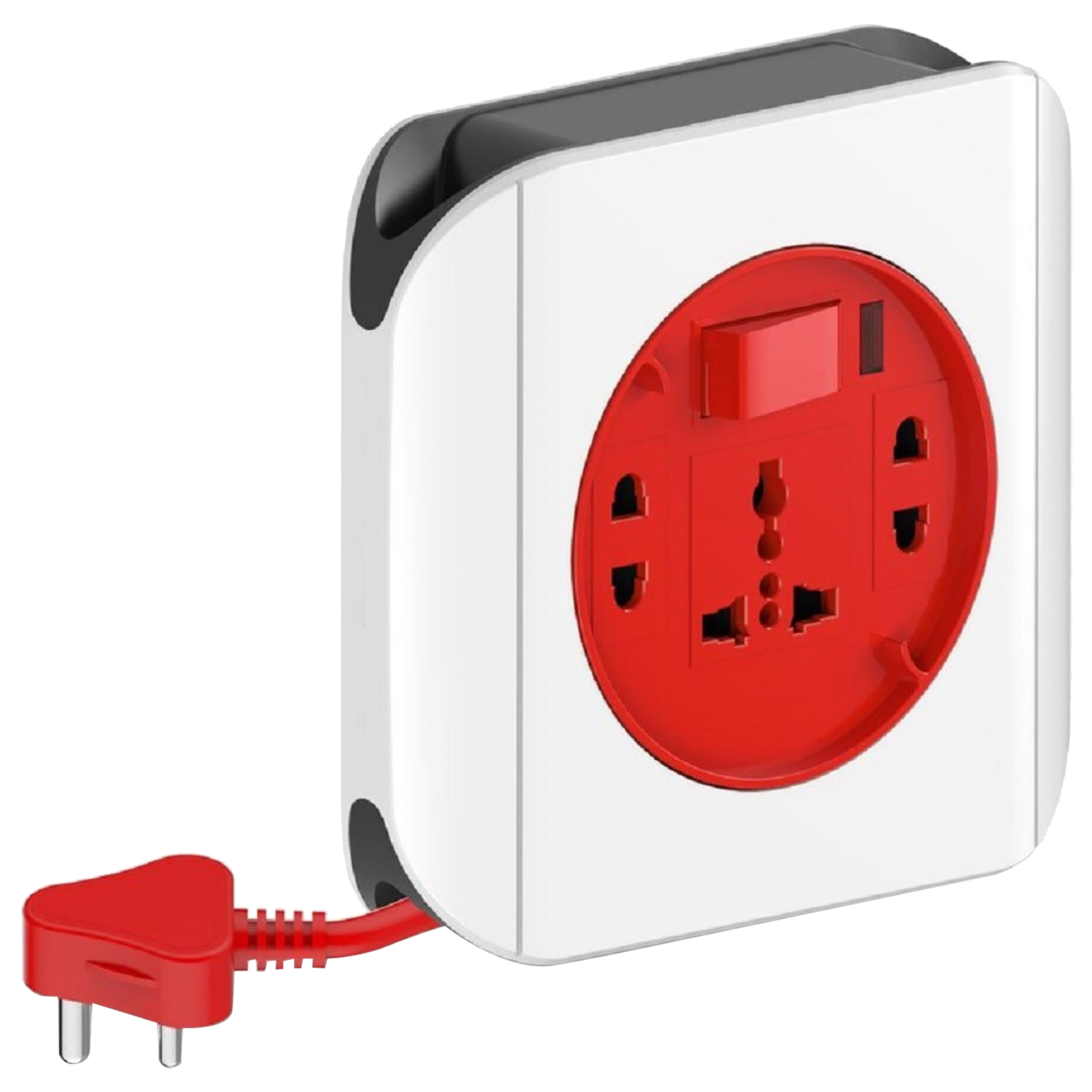 Goldmedal Curve Dazzle 6 Amp 3 Sockets Extension Board 4 Meters (High Grade Fire Retardant Plastic, 205121, White/Red)_1