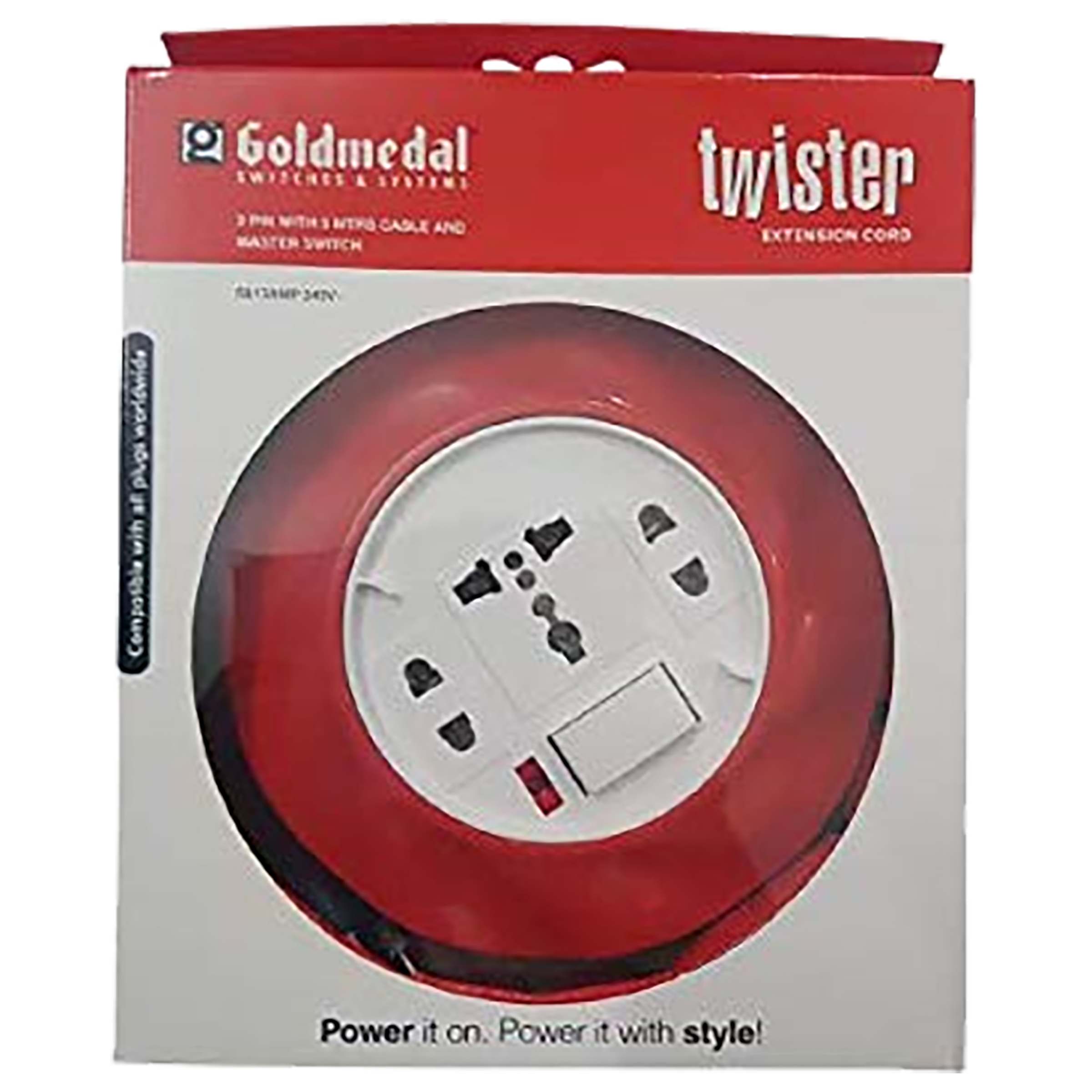 Goldmedal Twister 10 Amp 3 Sockets Extension Board 5 Meters (High Grade Fire Retardant Plastic, 205122, White/Red)_1