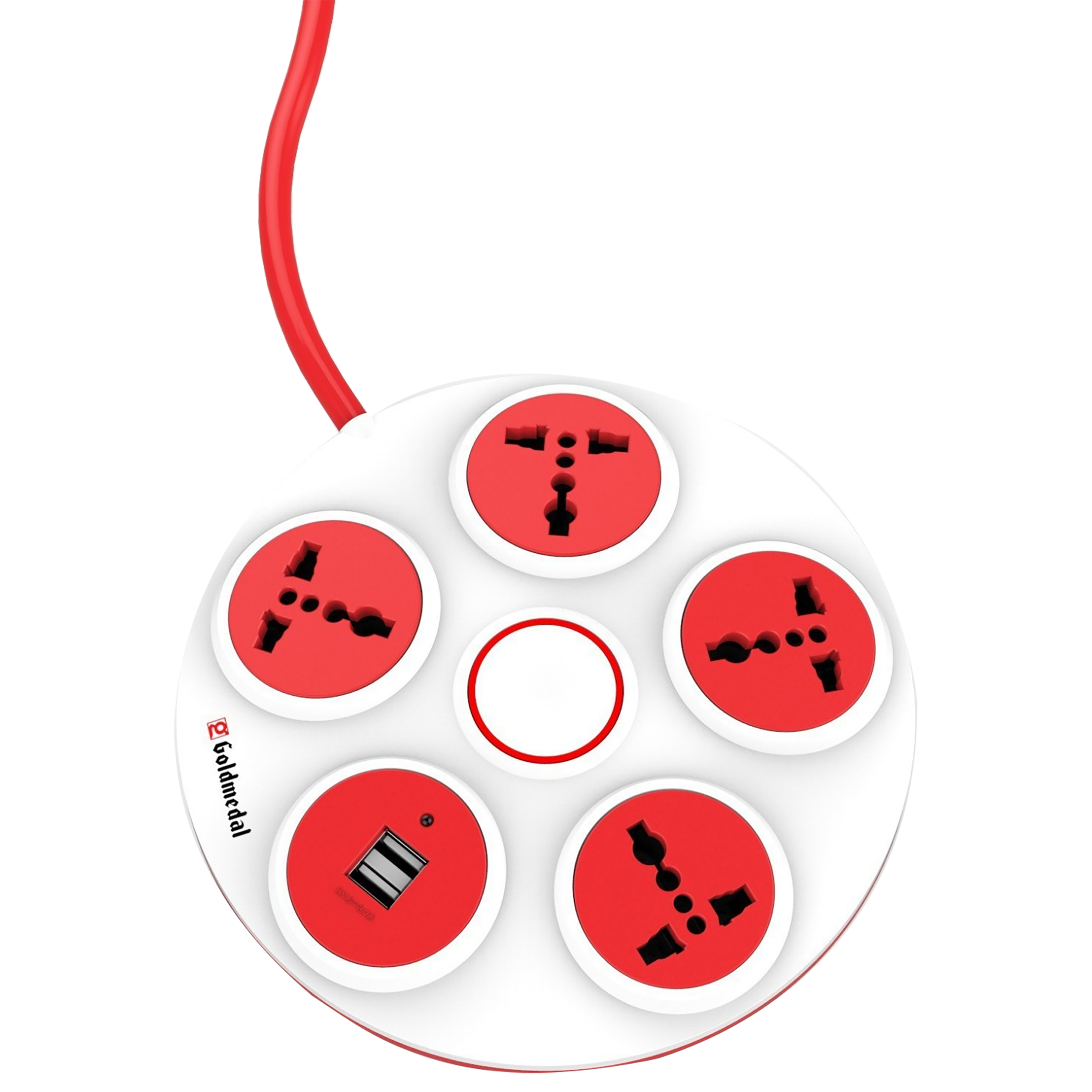 Goldmedal Curve 6 Amp 4 Sockets Spike Guard With Individual Switch 2 Meters (High Grade Fire Retardant Plastic, 205106, White/Red)_1