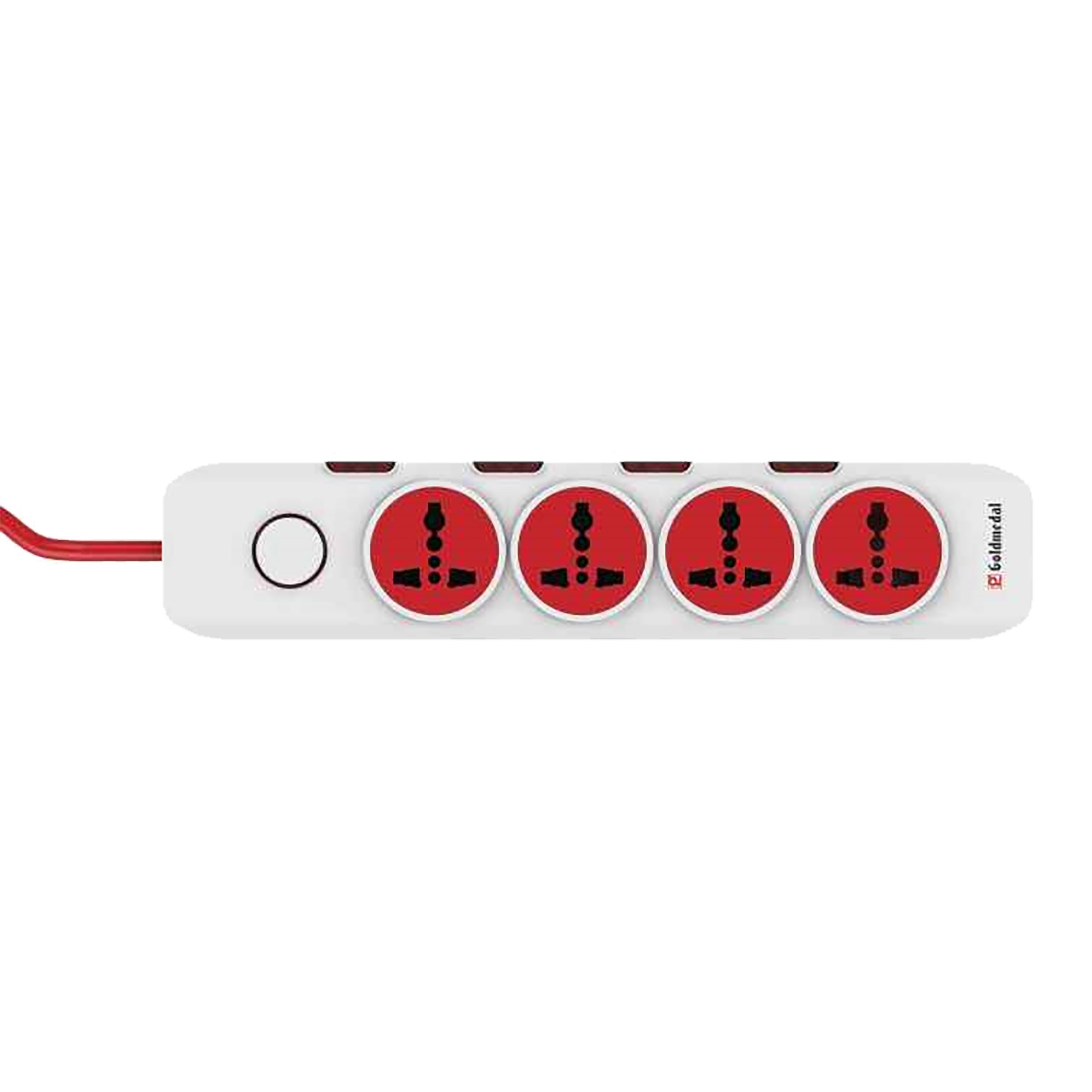Goldmedal I-Design 6 Amp 4 Sockets Extension Board ( 2 Meters, Master Switch, 205103, White/Red)_1