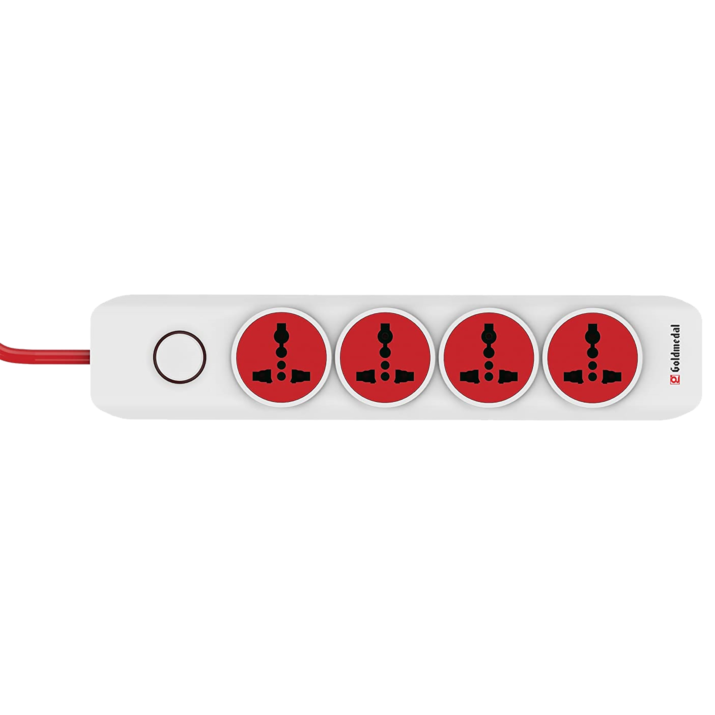 Goldmedal I-Design 6 Amp 4 Sockets Extension Board ( 2 Meters, Special Nylon Velcro Cable, 205102, White/Red)_1
