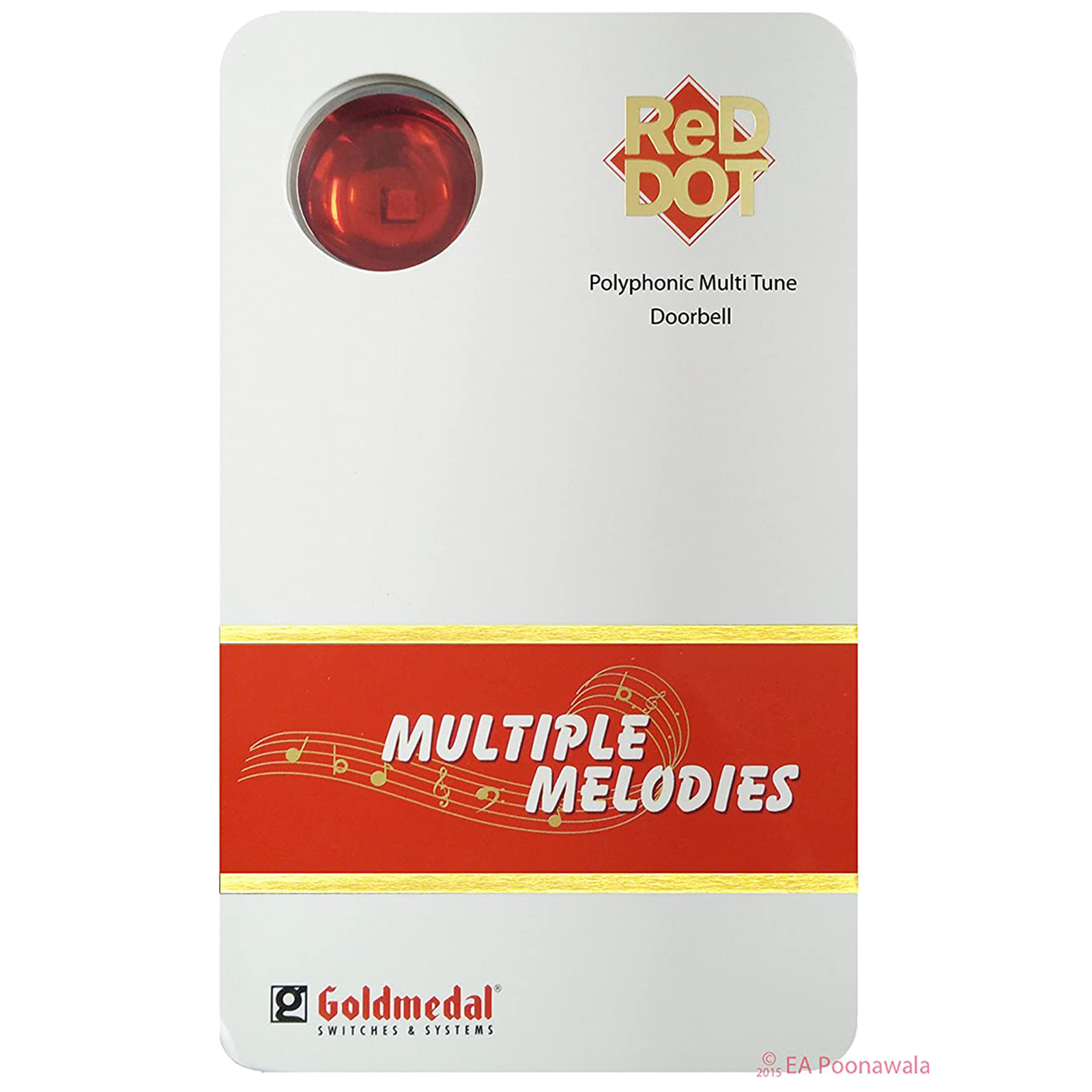 Goldmedal Red Dot Door Bell (Polyphonic Multitune, 204082, White/Red)_1
