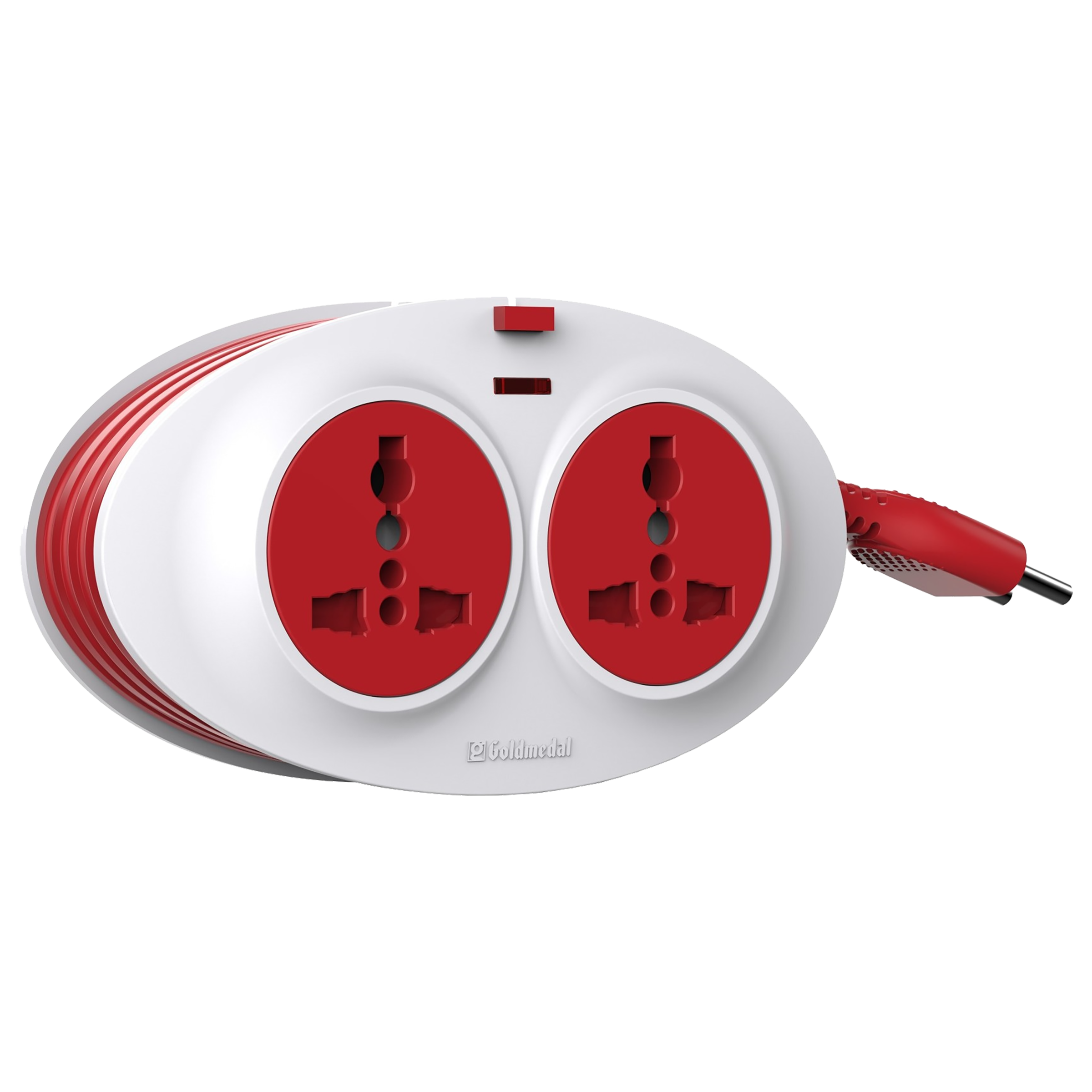 Goldmedal Gio 10 Amp 2 Sockets Extension Board  (2.5 Meters, PVC Enclosure, 205133, White/Red)_1
