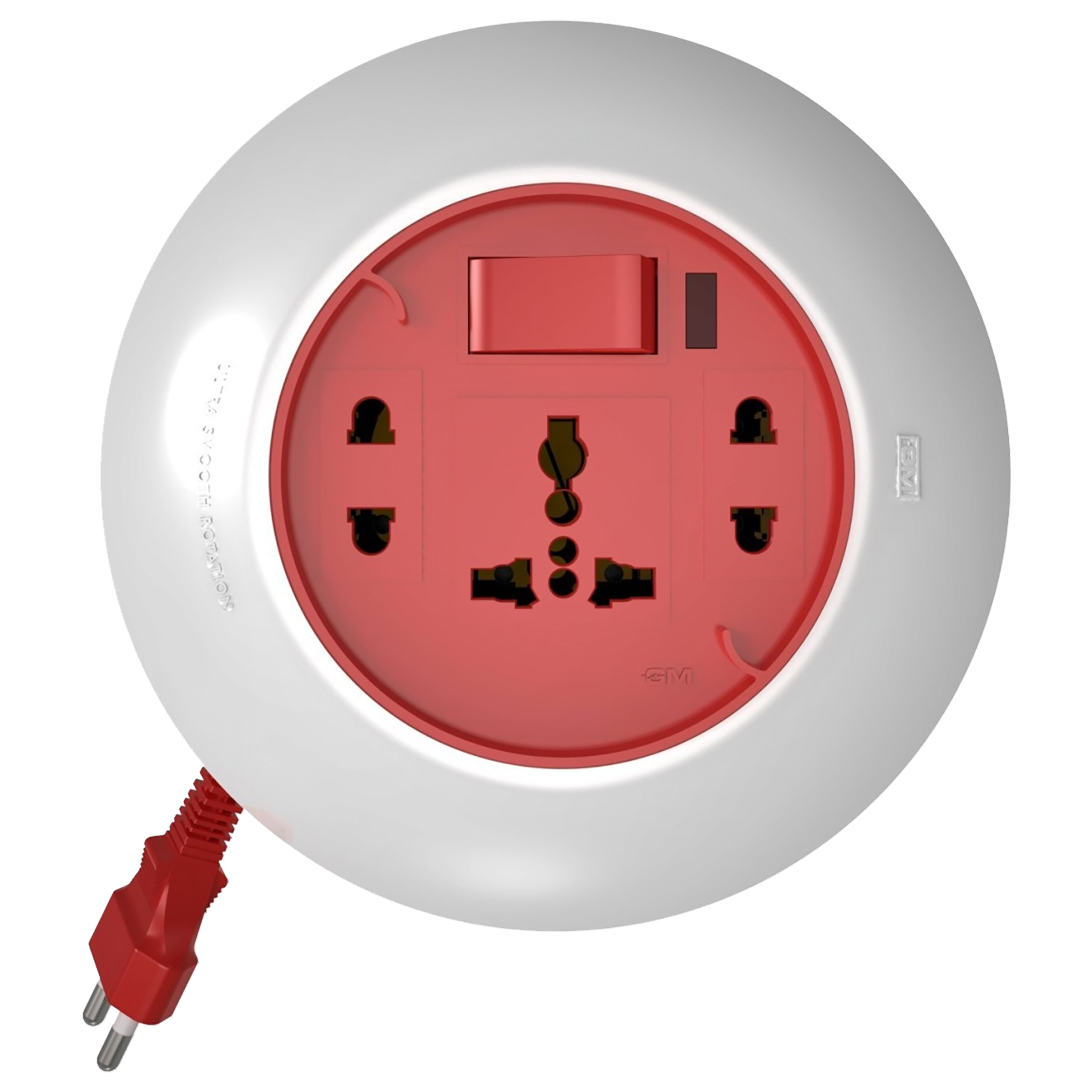 GM Orbit 6 Amp 3 Sockets Extension Board 5 Meters (Ultra Smooth Rotation, GM 3071, White/Red)_1