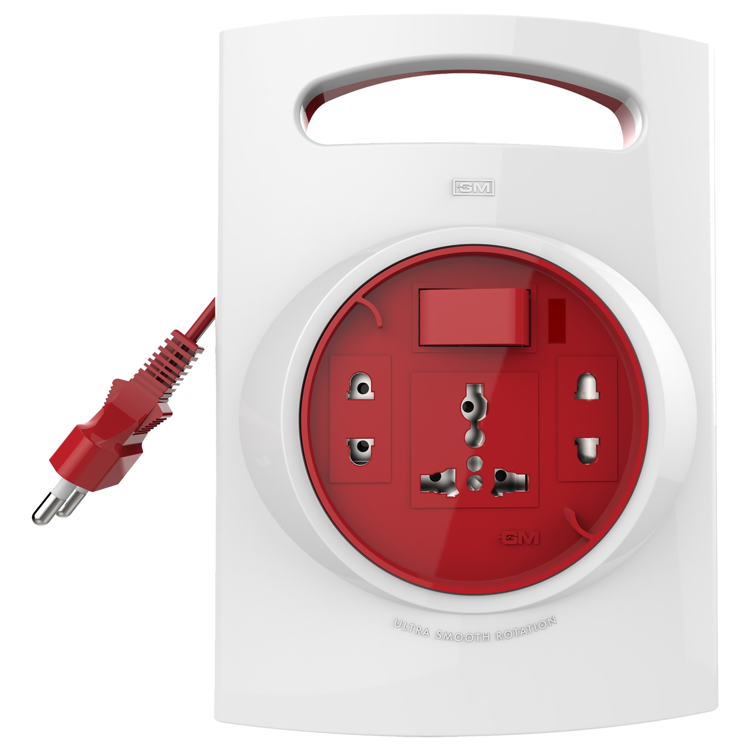GM G-Flex 6 Amp 3 Sockets Extension Board 5 Meters (Ultra Smooth Rotation, GM 3047, White/Red)_1