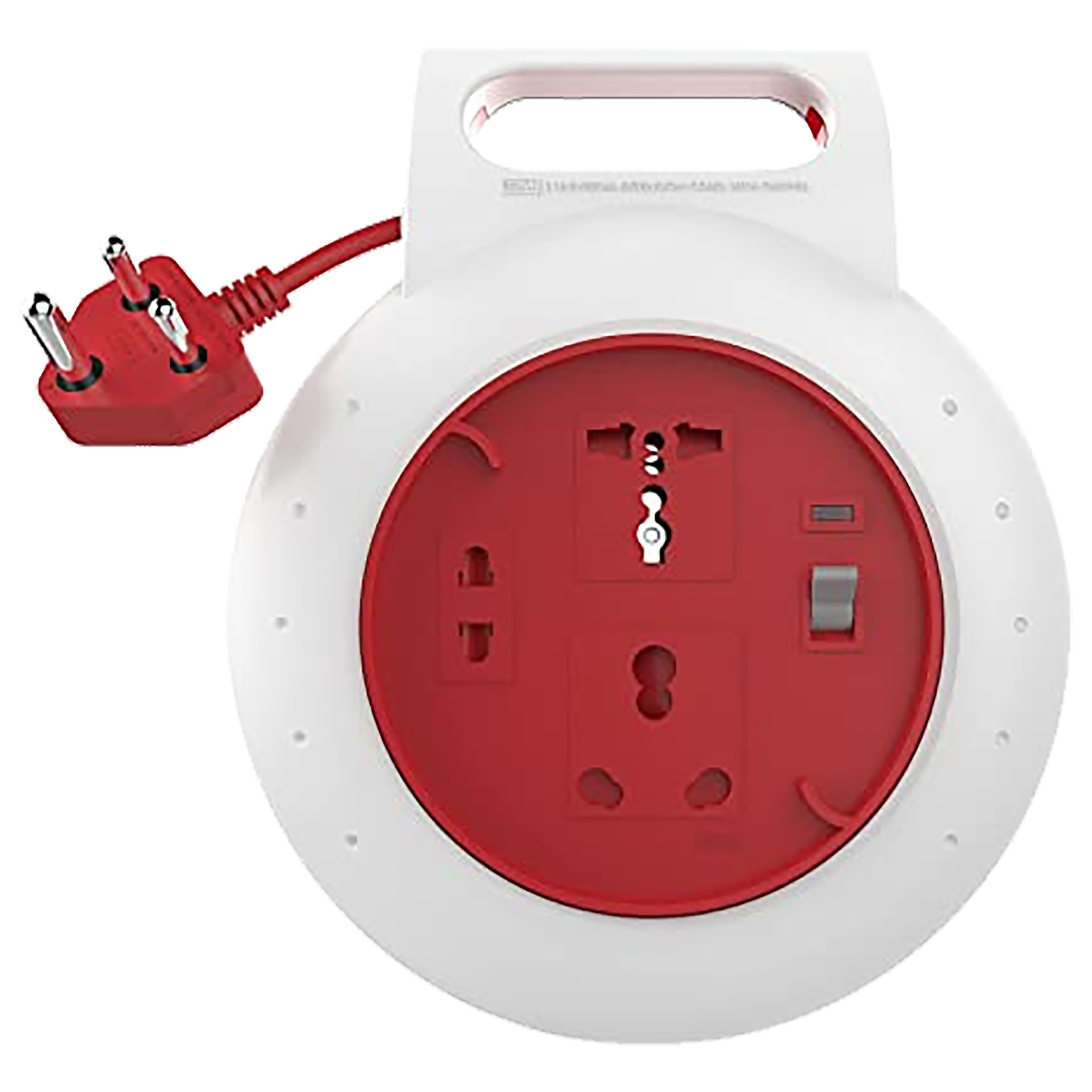 GM Flex Box 6 Amp 3 Sockets Extension Board 4 Meters (Soft Rubber Grommet, GM 3046, White/Red)_1