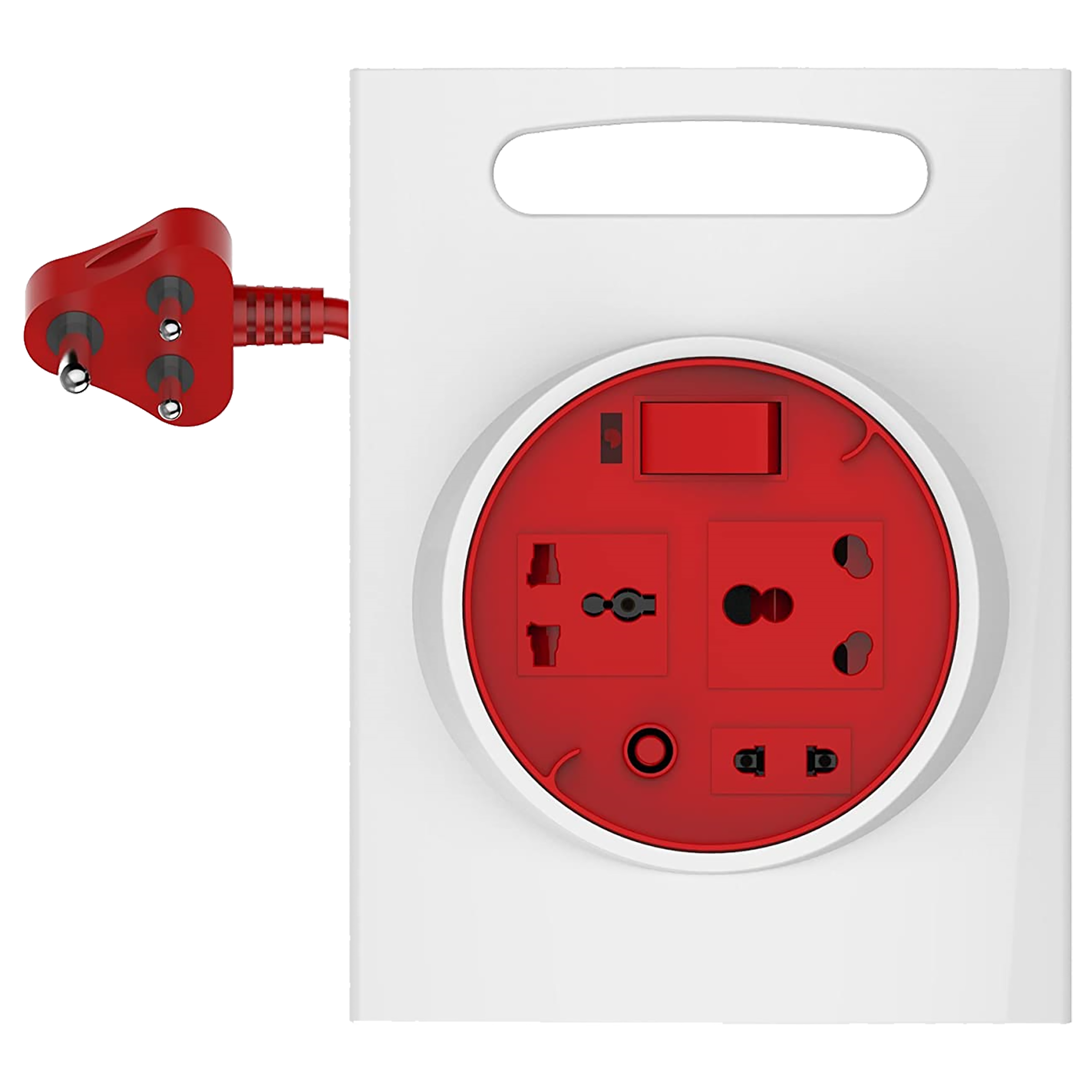 Goldmedal Curve Plus 16 Amp 3 Sockets Extension Board (3.5 Meters, Extremely Clean Rotation, 205132, White/Red)_1
