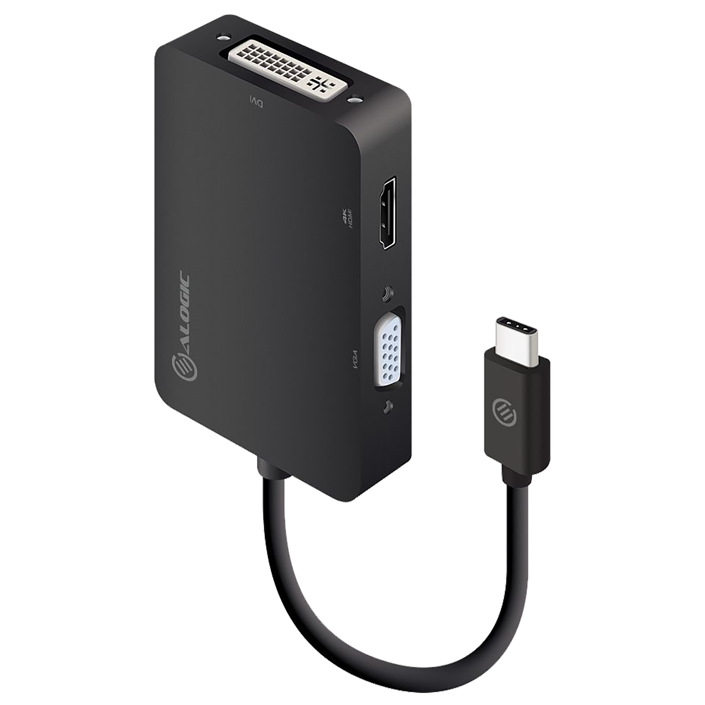 Alogic Premium Series USB 3.0 (Type-C) to HDMI (Type-A) / VGA / DVI Video Display Multiport Adapter (3-in-1 Video Outputs, UCVGDVHD-ADP, Black)_1