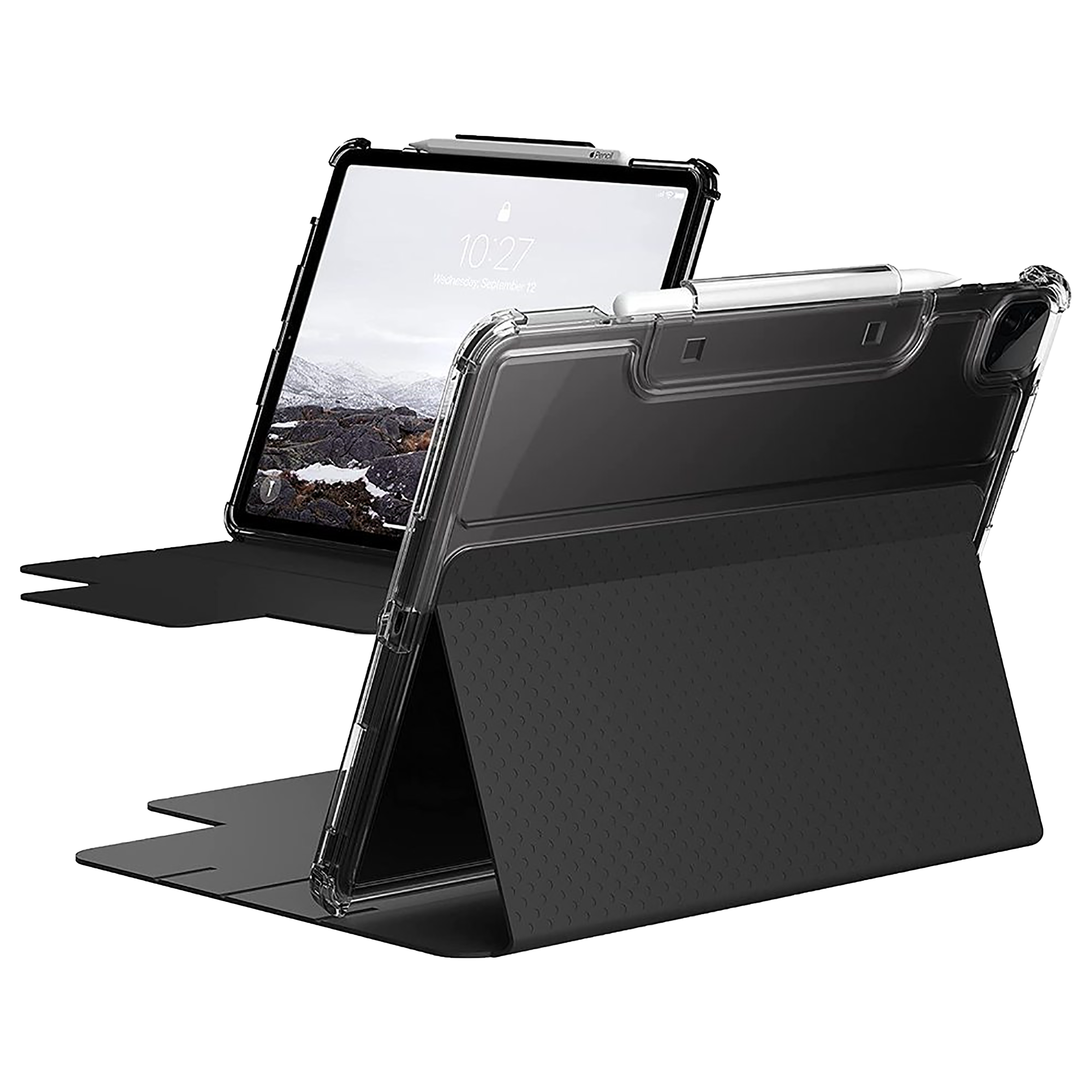 UAG Lucent Polycarbonate Flip Case with Stand For Apple iPad Pro 12.9 Inch (Built-In Apple Pencil Holder, UGLU_129G5_BK_IC, Clear Black)_1