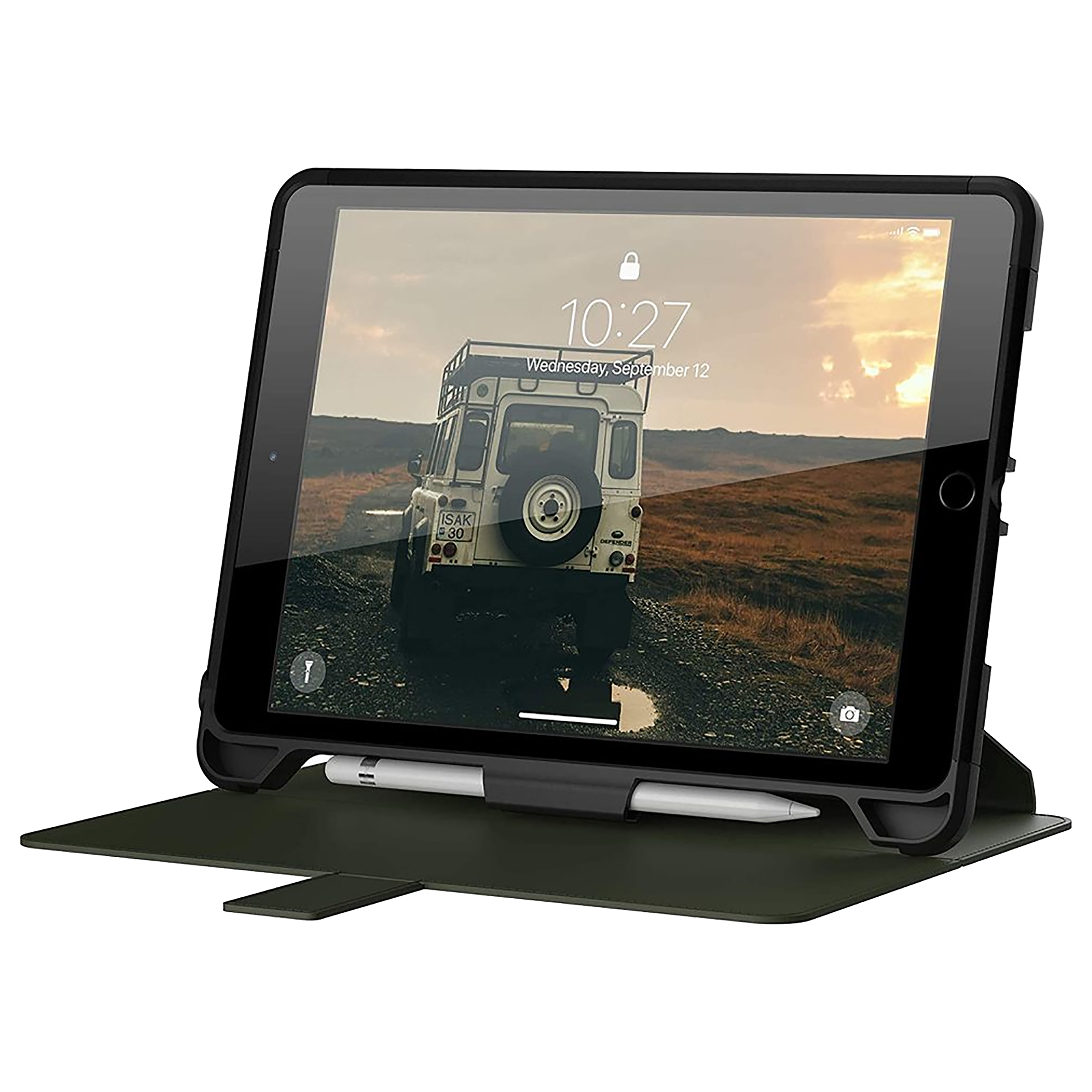 UAG Scout Polycarbonate Flip Case with Stand For Apple iPad 10.2 Inch (Built-In Apple Pencil Holder, UGSCF_IPD102_BK_OD, Olive Black)_1