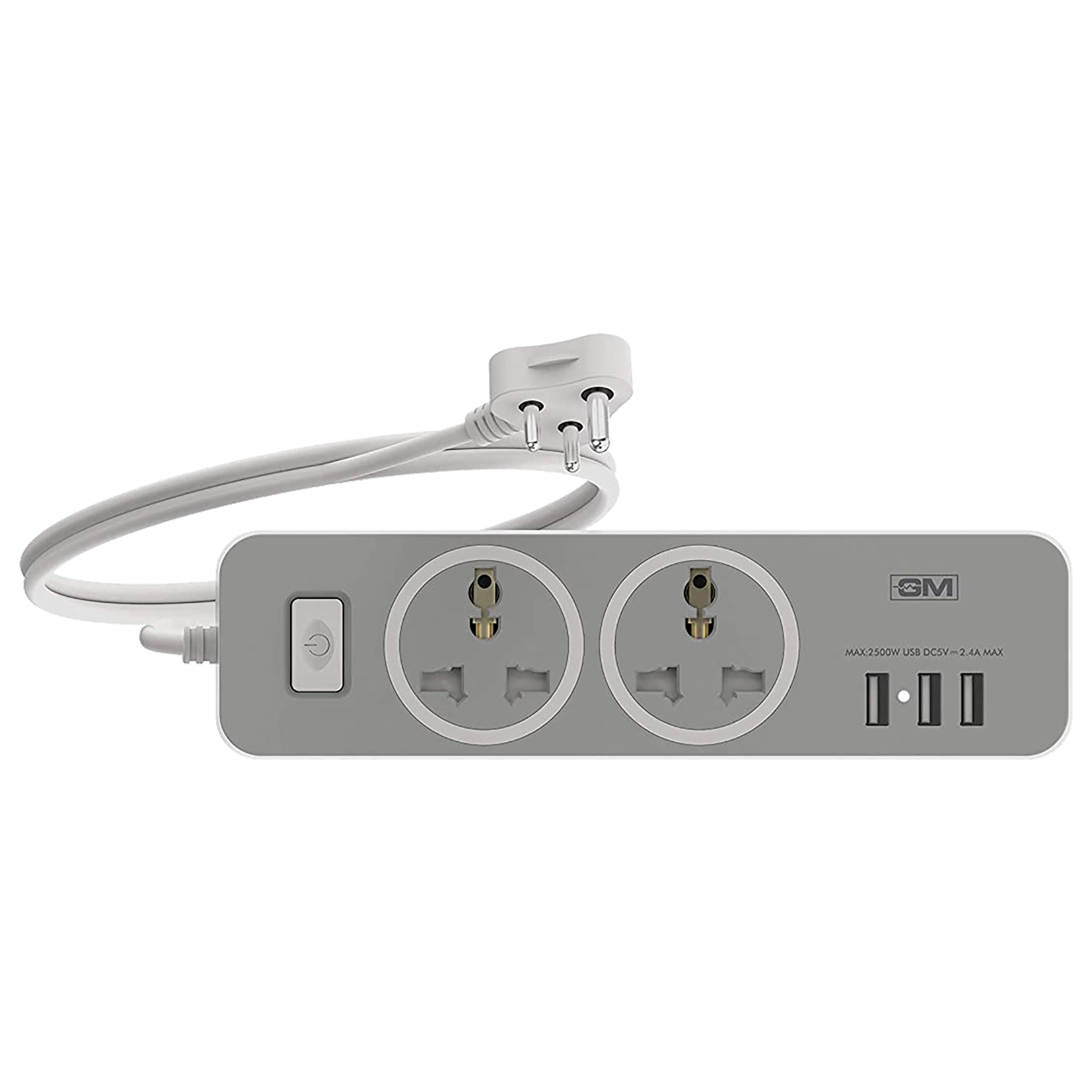 GM Cuba 2 Sockets Extension Board 2 Meters (LED Indicator, GM 3262, White/Grey)_1