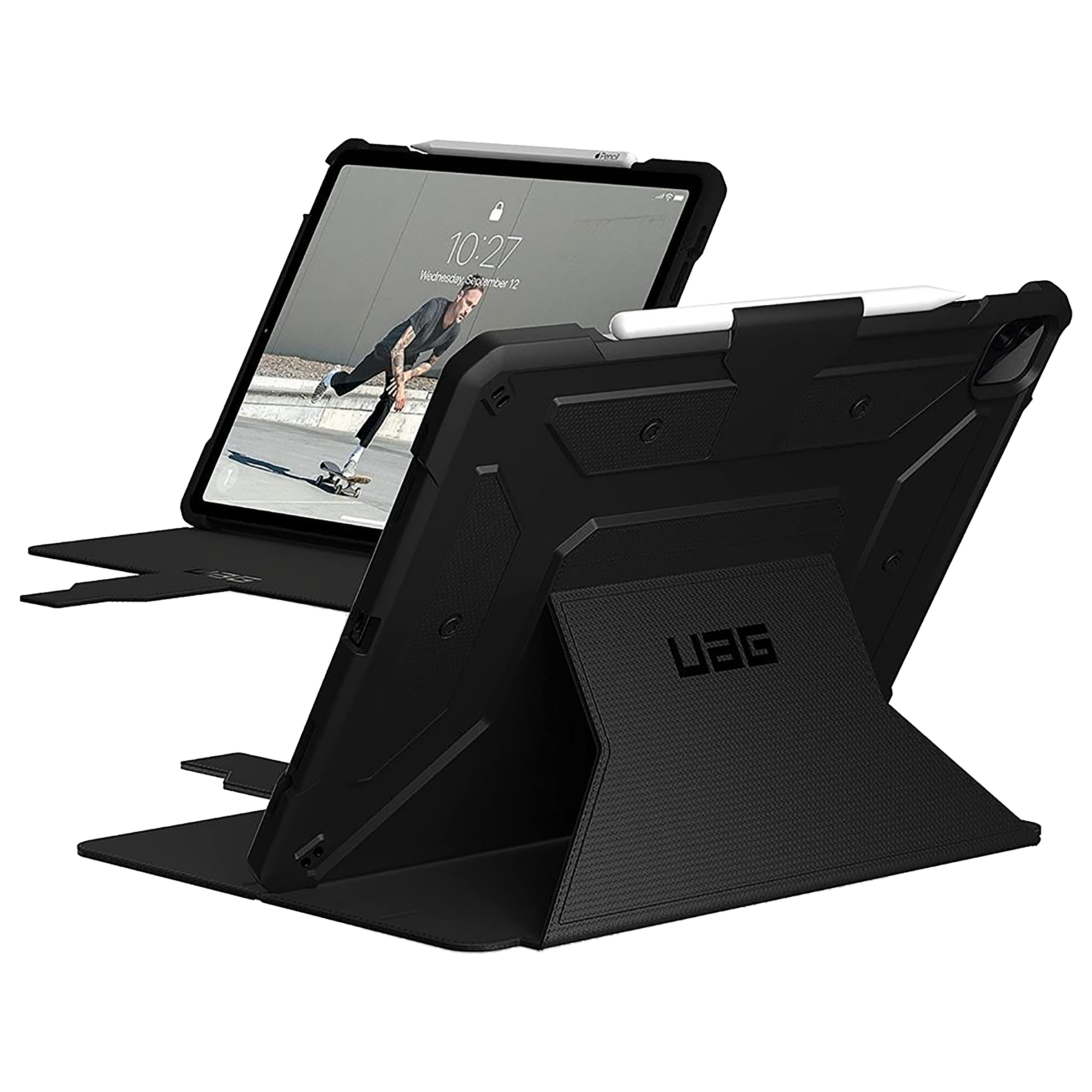 UAG Metropolis Thermoplastic Polyurethane Flip Case with Stand For Apple iPad Pro 12.9 Inch (Feather-Light Construction, UGMP_129G5_BK, Black)_1