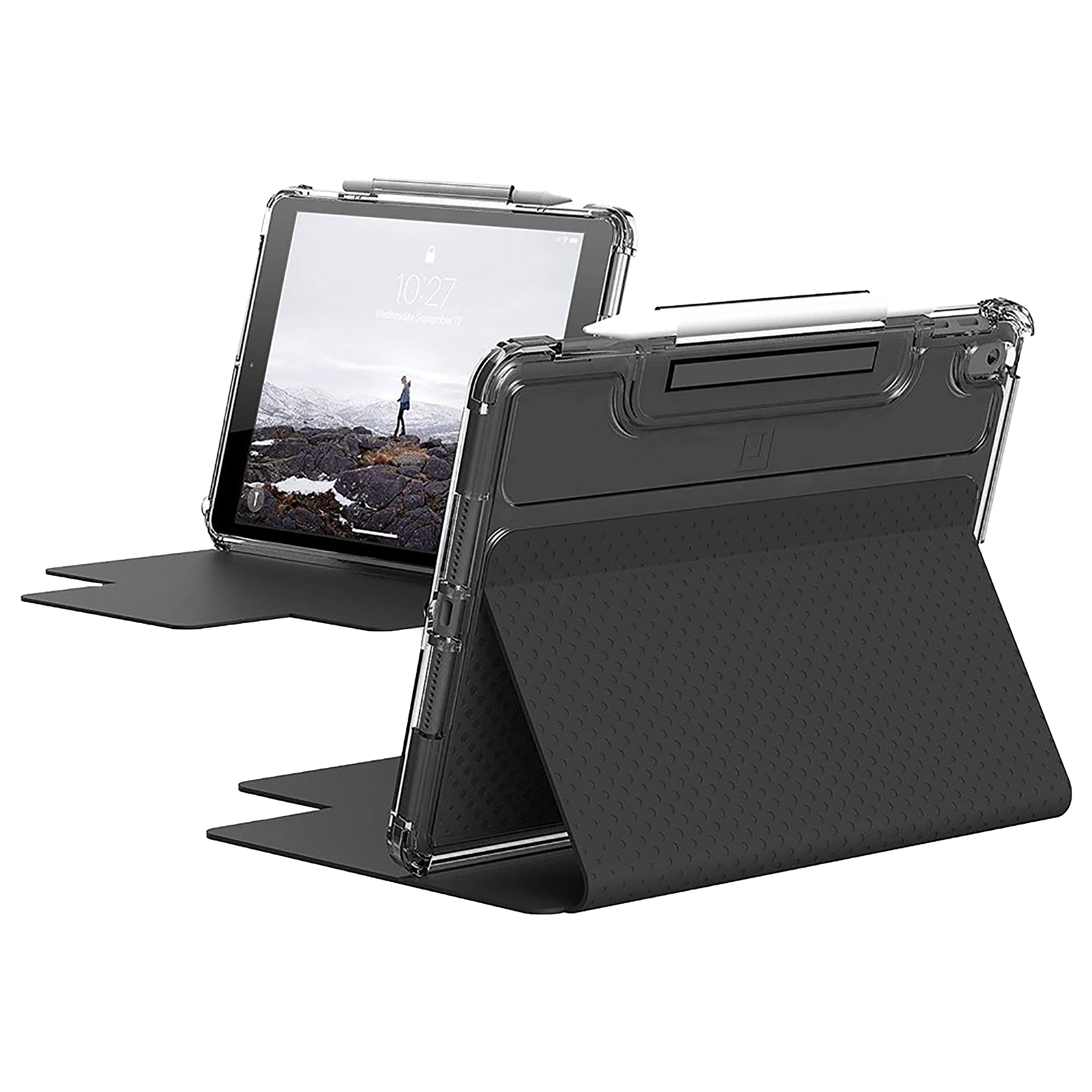UAG Lucent Polycarbonate Flip Case with Stand For Apple iPad 10.2 Inch (Sophisticated Translucent Protection, UGLU_IPD102_BK_IC, Clear Black)_1