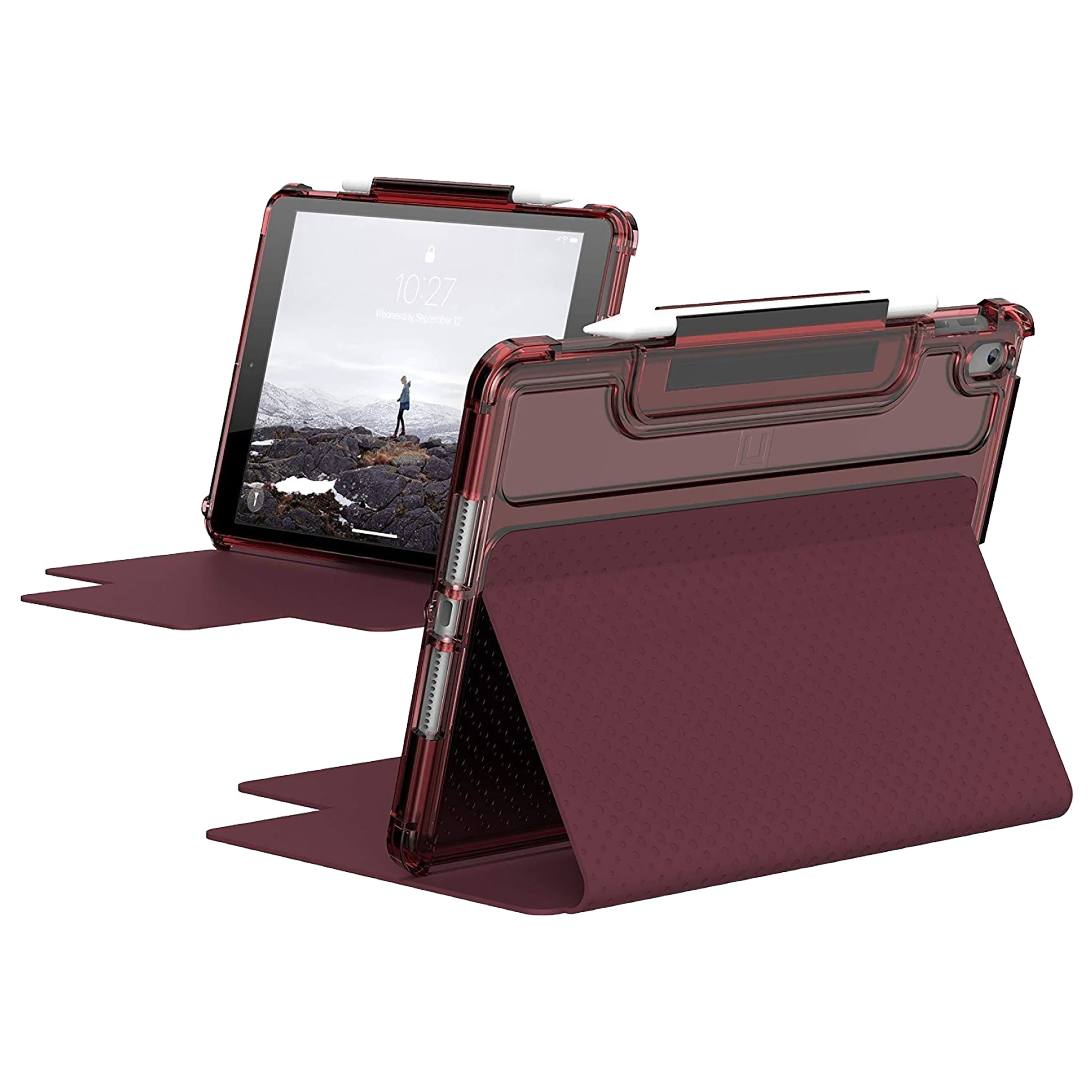 UAG Lucent Polycarbonate Flip Case with Stand For Apple iPad 10.2 Inch (Soft Impact Resistance, UGLU_IPD102_AG_RS, Aubergine/Dusty Rose)_1