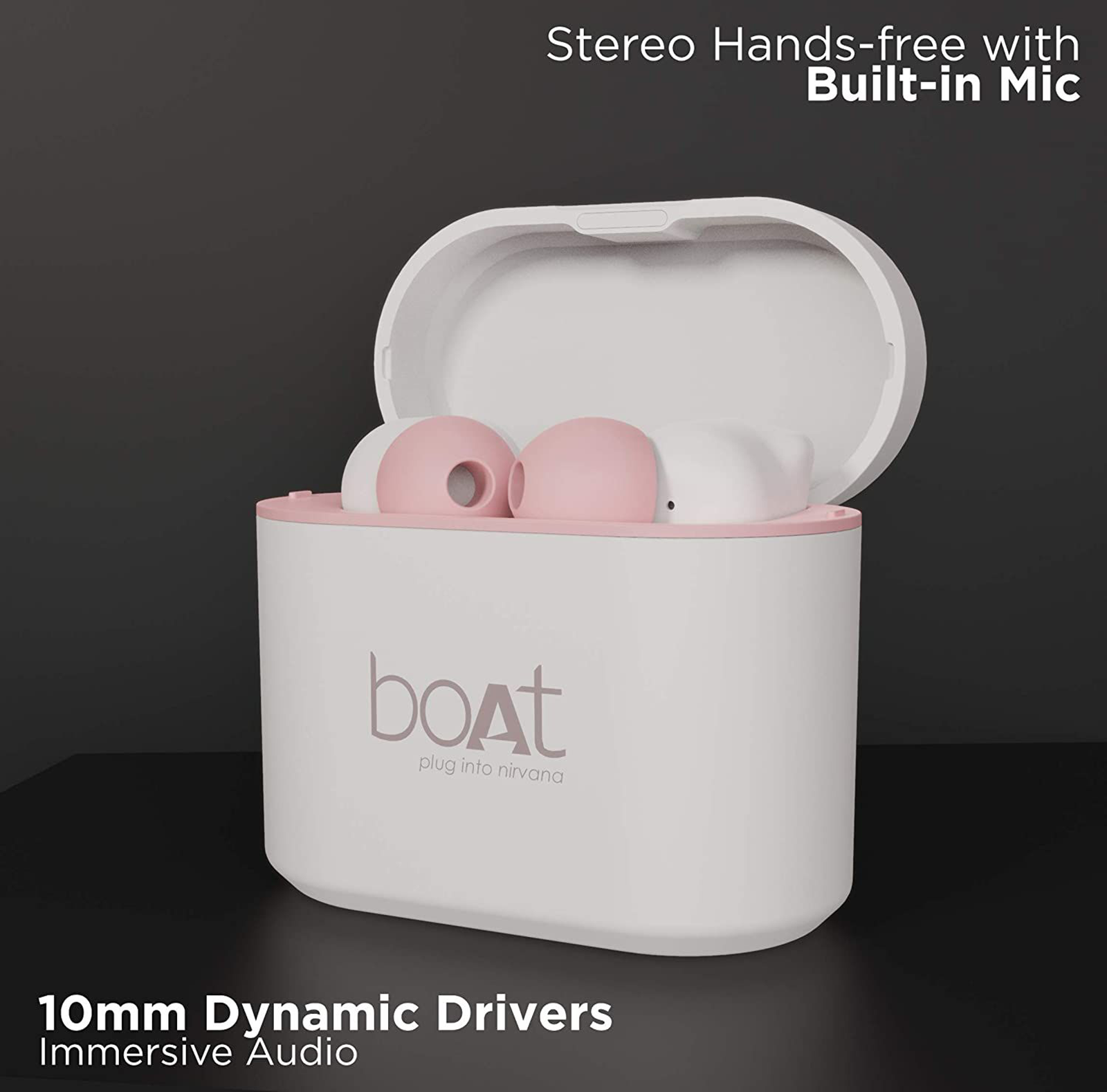 boAt In-Ear Truly Wireless Earbuds with Mic (Bluetooth 5.0, Airdopes 408, Rosegold White) _3