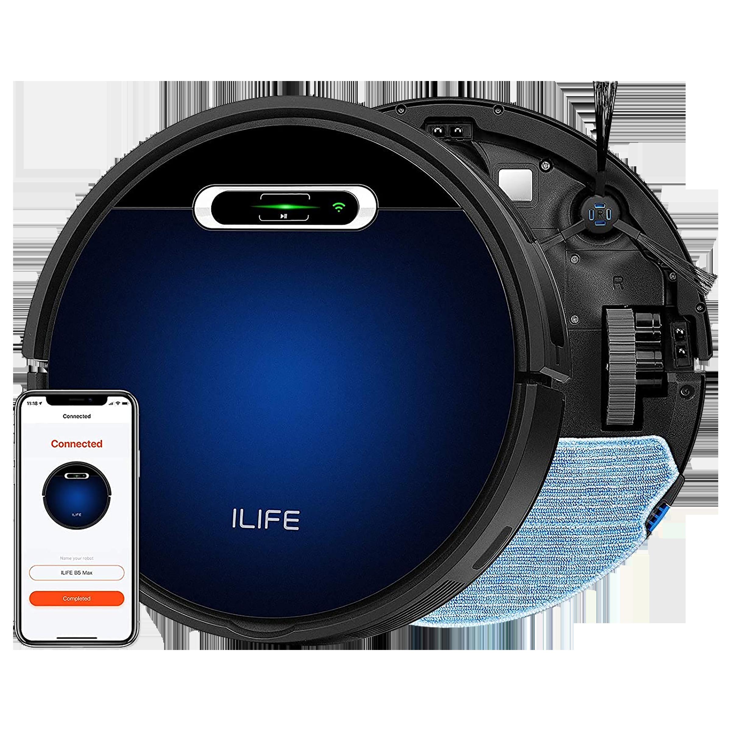 ILIFE 25 Watts Robotic Vacuum Cleaner (600ml, B5 Max, Blue)_1