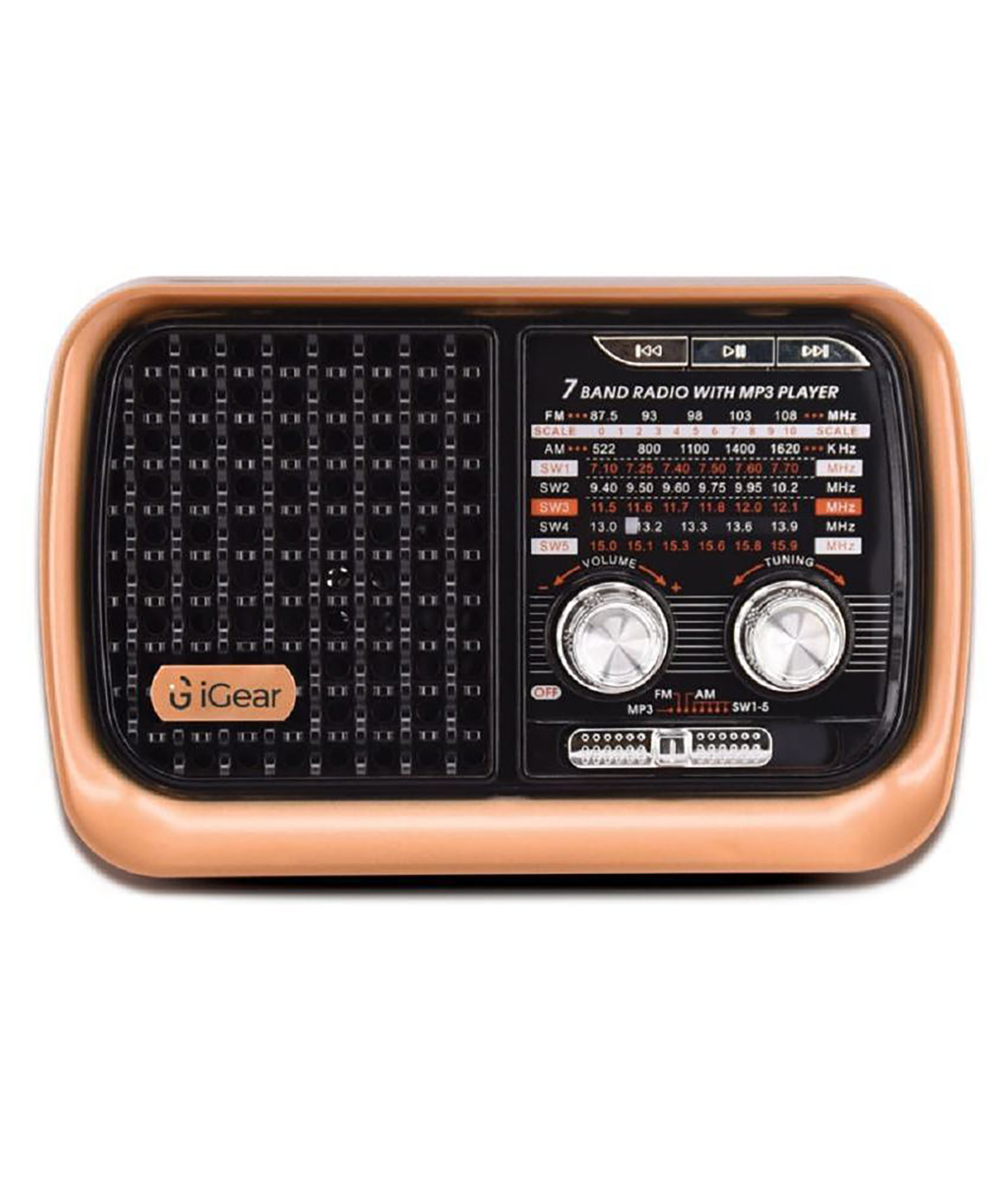 iGear Vintage Vibes 8 Watts MP3 Player (Rechargeable Battery, iG-1112, Black and Copper)