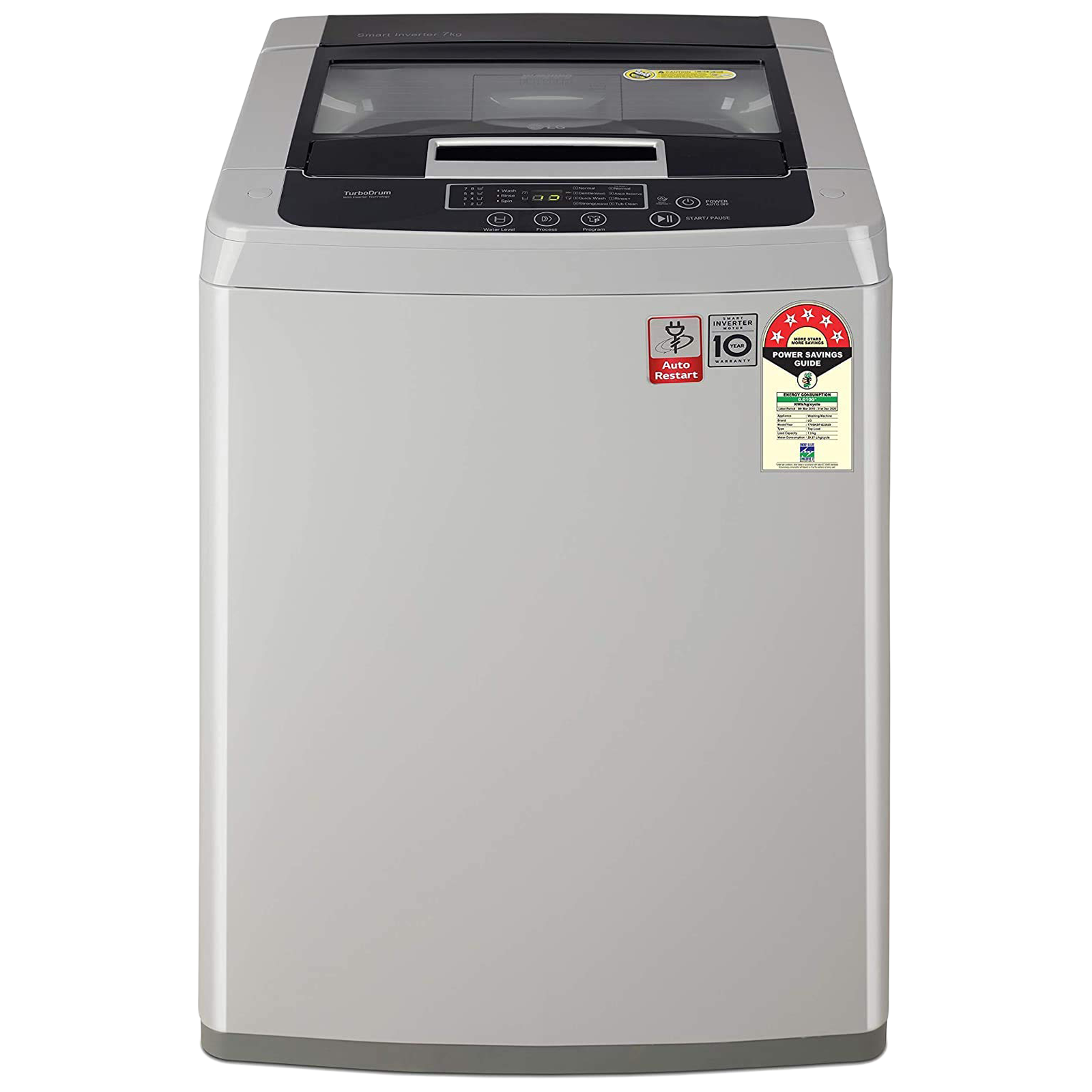 LG 7.5 kg 5 Star Fully Automatic Top Load Washing Machine (Auto Restart, T75SKSF1Z.ASFQEIL, Middle Free Silver)_1