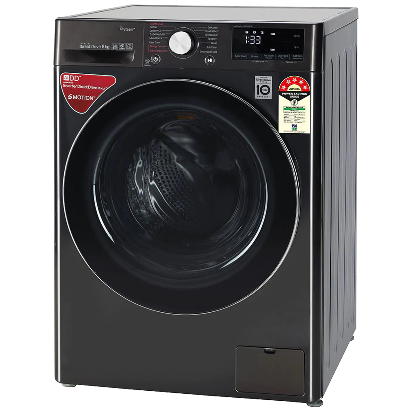 LG 8 kg 5 Star Fully Automatic Front Load Washing Machine (6 Motion Direct Drive Technology, FHV1408ZWB.ABLQEIL, Black Steel)_3