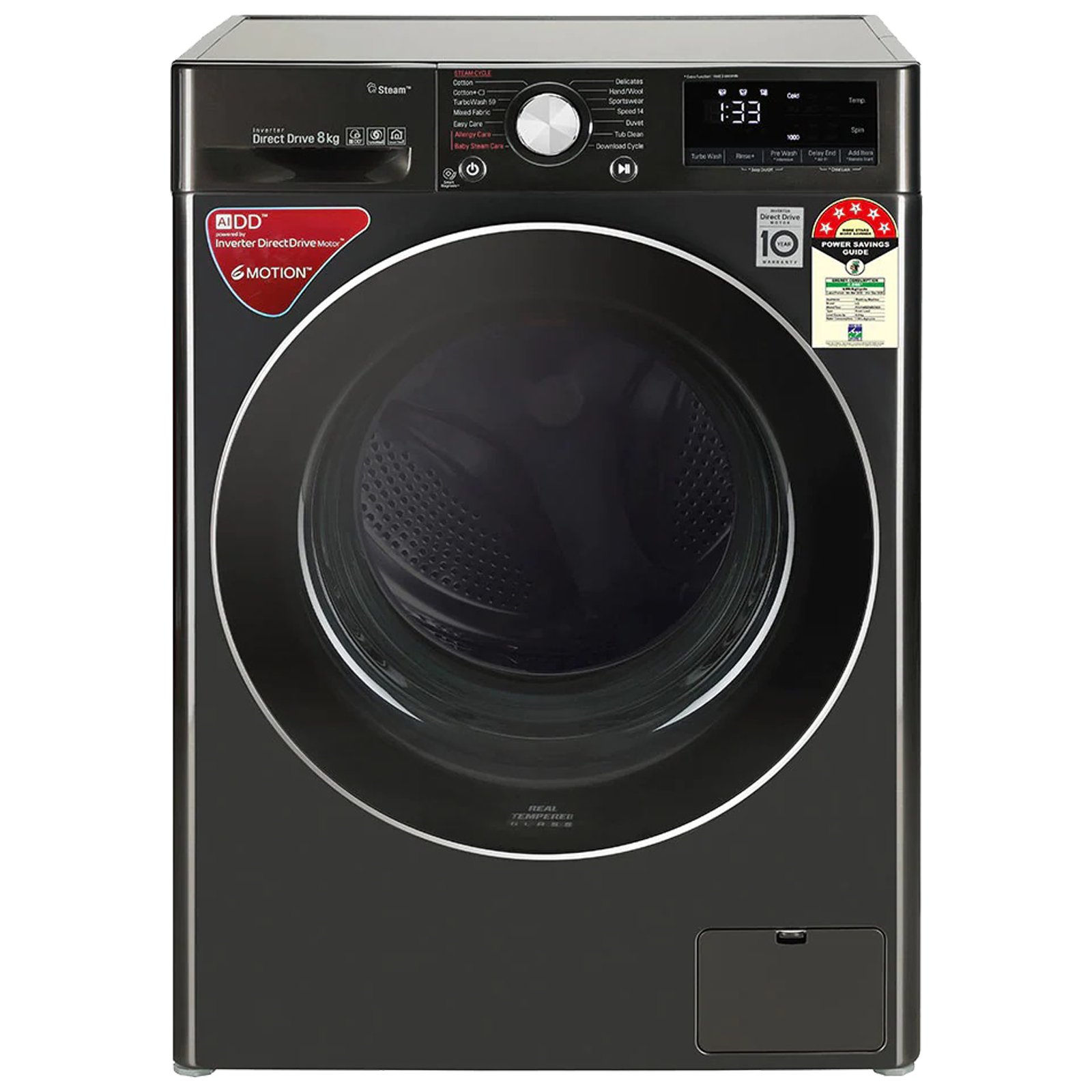 LG 8 kg 5 Star Fully Automatic Front Load Washing Machine (6 Motion Direct Drive Technology, FHV1408ZWB.ABLQEIL, Black Steel)_1