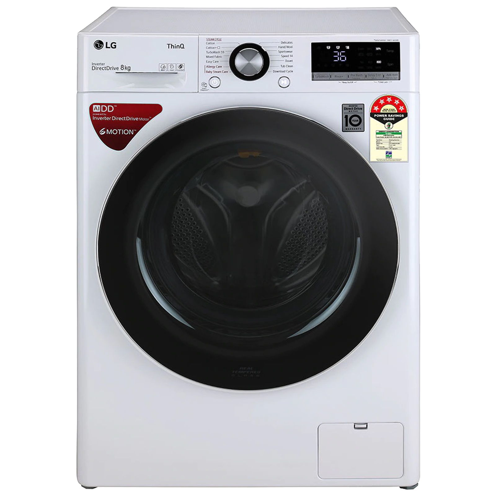 LG 8 kg 5 Star Fully Automatic Front Load Washing Machine (6 Motion Direct Drive Technology, FHV1408ZWW.ABWQEIL, White)_1