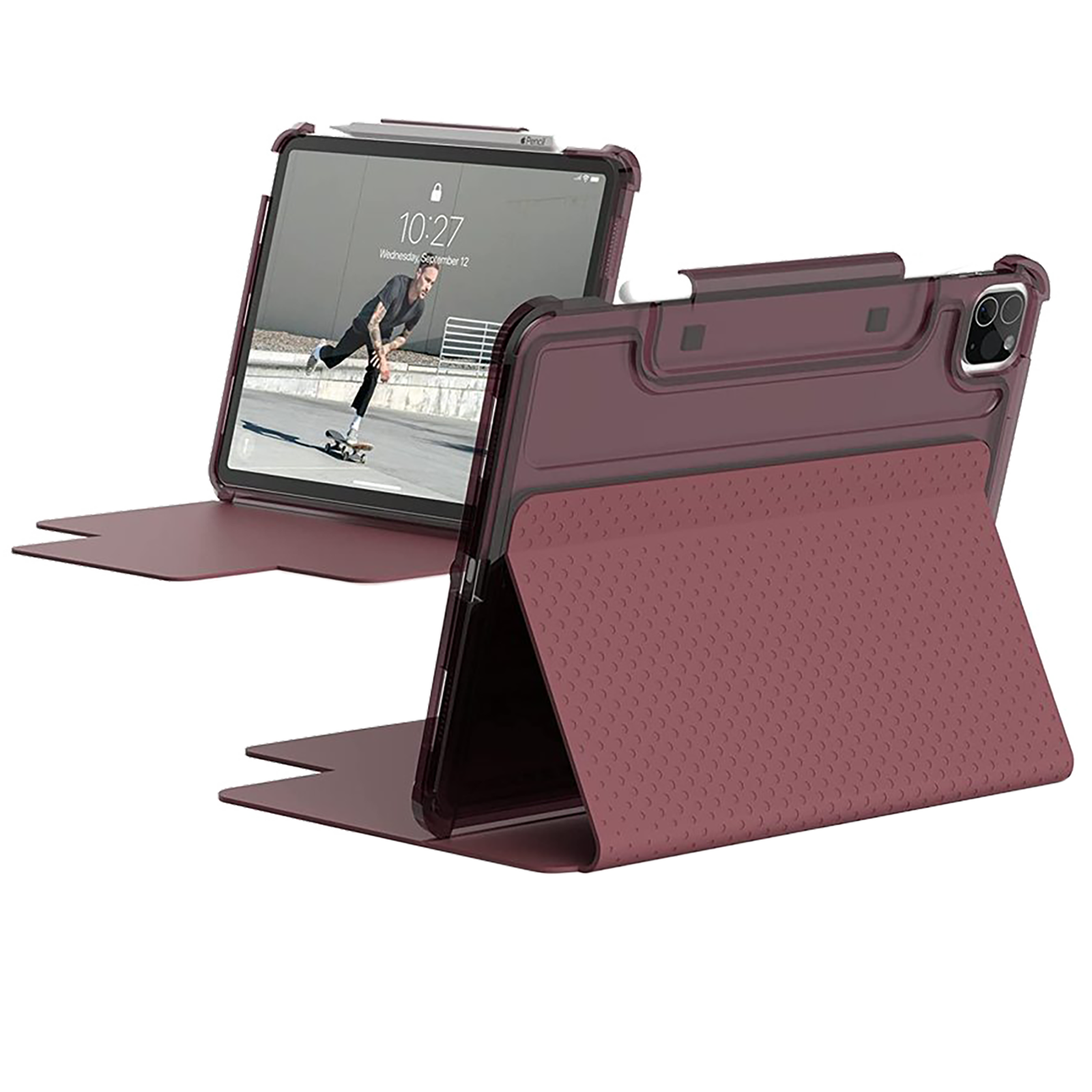 """UAG Lucent Full Cover Case For iPad Pro 11"""" (2nd Gen, 2020) (Featherlight Ultra Slim Profile, UGLU_IPD11PG3_AG_RS, Aubergine/Dusty Rose)_1"""