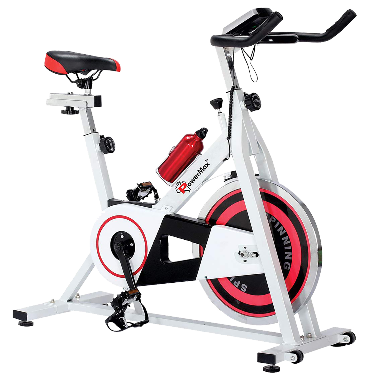 Powermax Fitness Cycle (LCD Display, BS-140, White/Red)_1