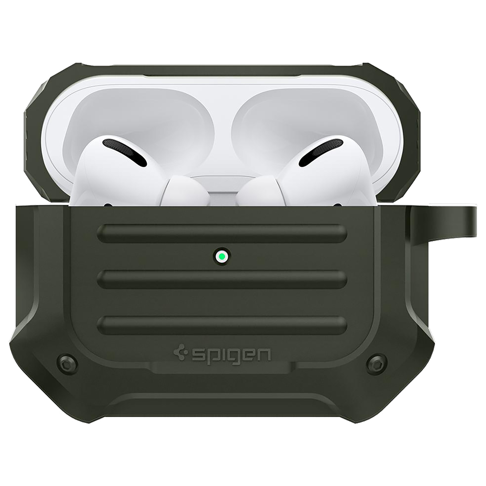 Spigen Tough Armor Silicone Full Cover Case For AirPods Pro (Key Ring For Easy Portability, ASD00539, Military Green)_1