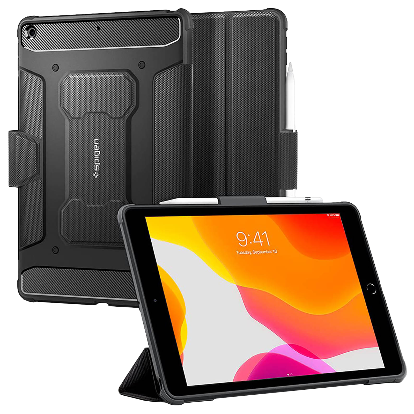 """Spigen Rugged Armor Pro Back Case with Stand For iPad 10.2"""" (Lightweight, ACS01216, Black)_1"""