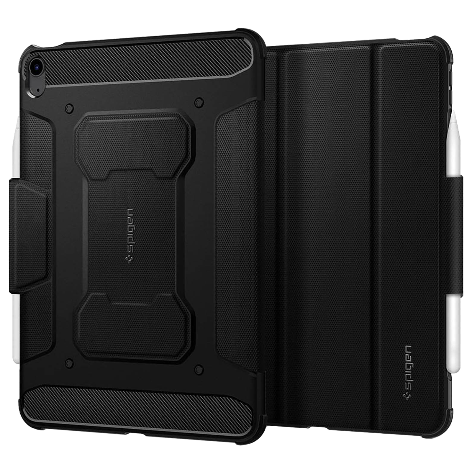 Spigen Rugged Armor Pro TPU and PC Full Cover Case For iPad Air 10.9″ (2020) (Air Cushion Technology, ACS02054, Black)