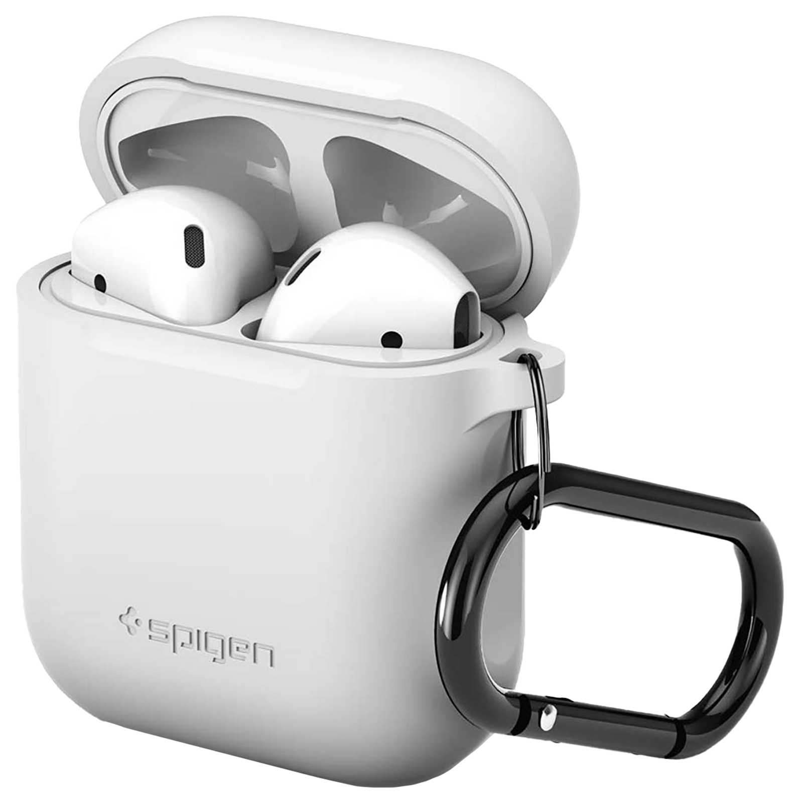 Spigen Silicone Fit Full Cover Case (For Airpods 2, 066CS24809, White)_1