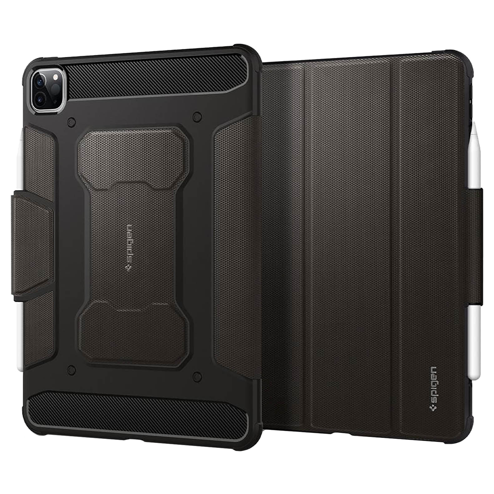 """Spigen Rugged Armor Pro PU Leather and TPU Full Cover Case For iPad Pro 11"""" (2021/2020/2018) (Air Cushion Technology, ACS01025, Gunmetal)_1"""