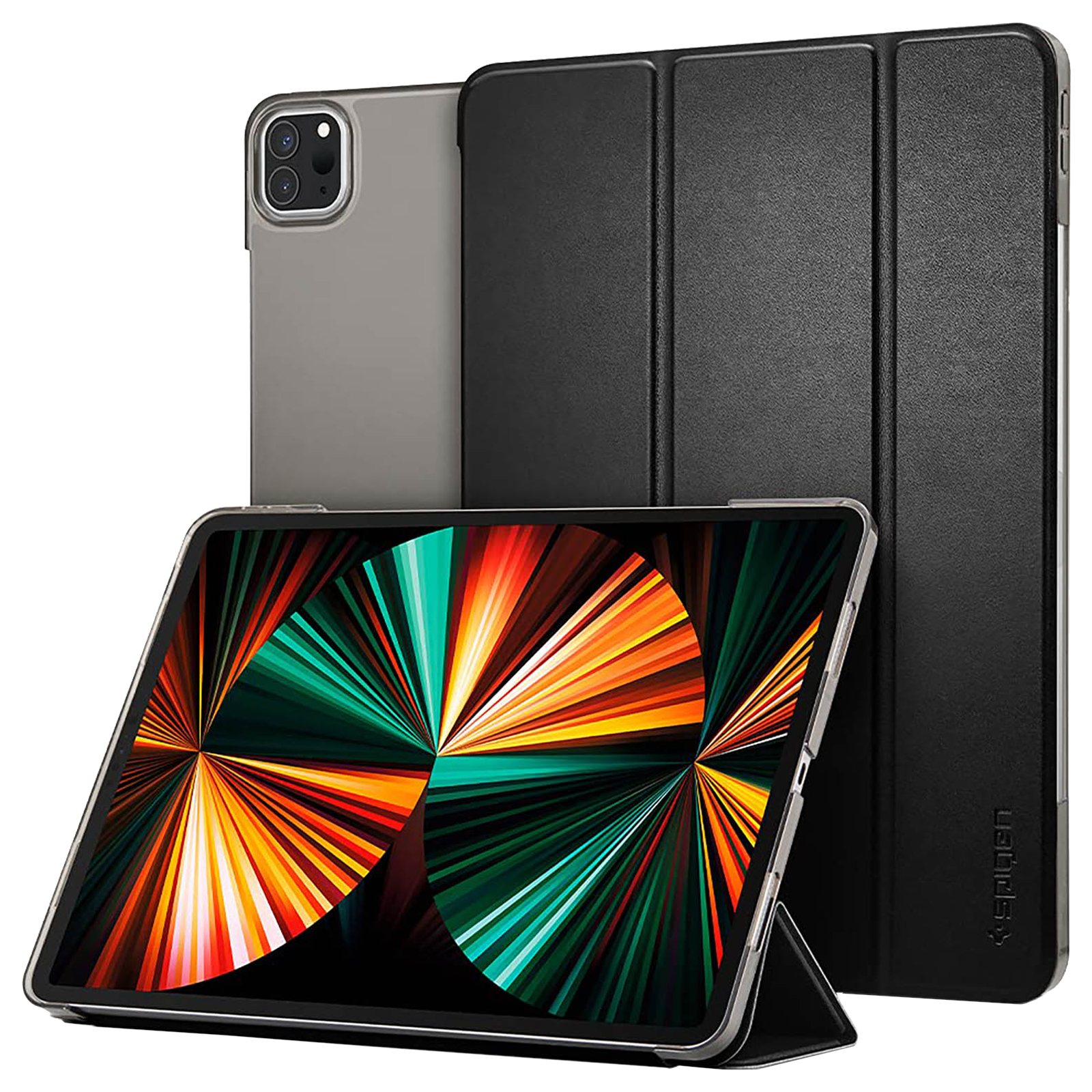 """Spigen Smart Fold PC and PU Back Case with Stand For iPad Pro 12.9""""(2021) (Secure Magnetic Closure, ACS02882, Black)_1"""