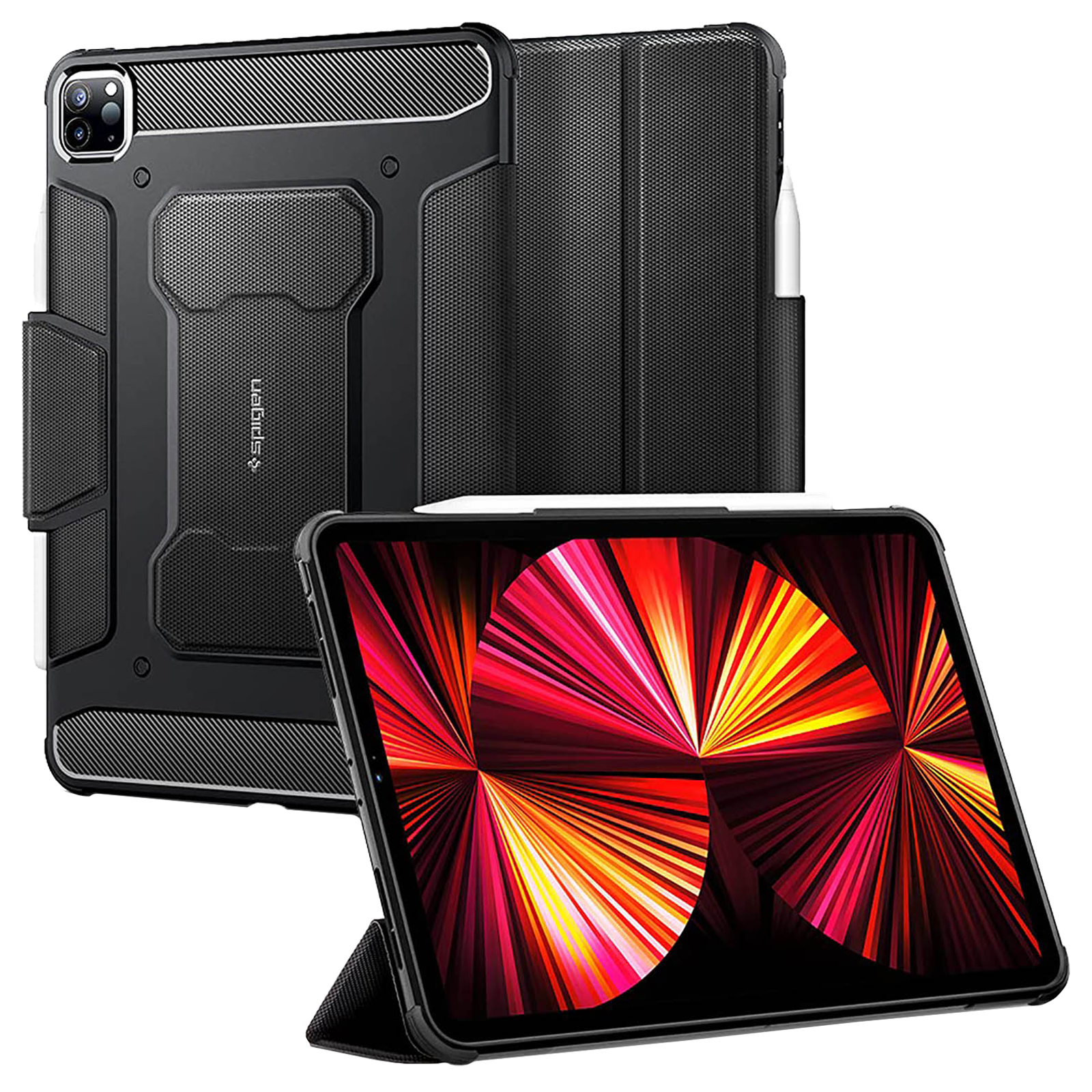 """Spigen Rugged Armor Pro Full Cover Case For iPad Pro 11"""" (Air Cushion Technology, ACS01024, Black)_1"""