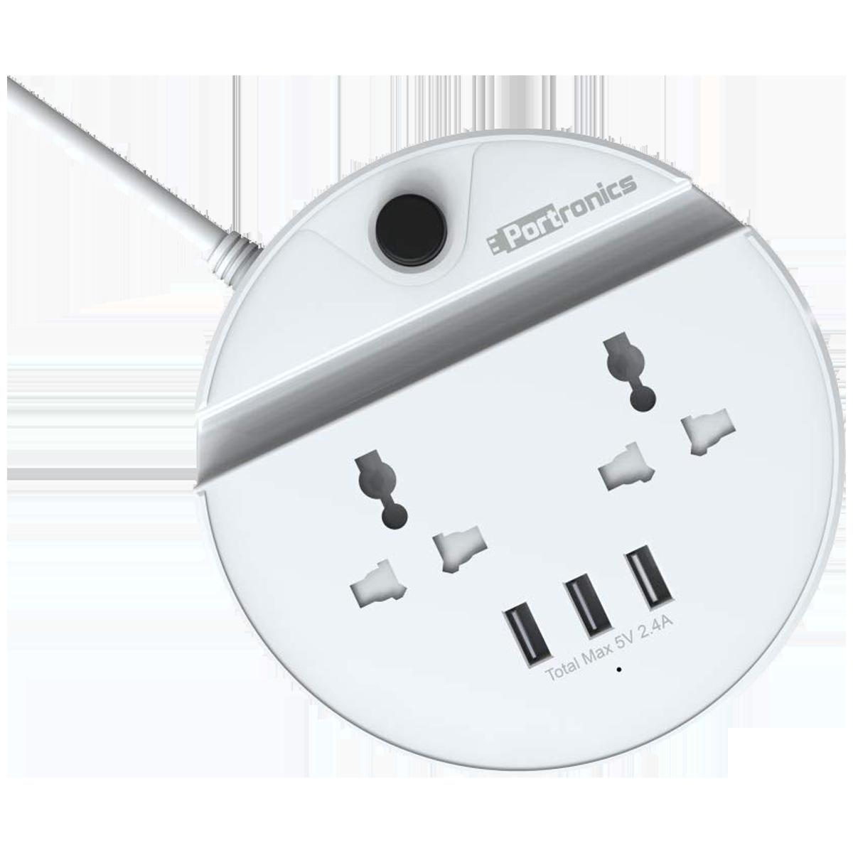 Portronics Power Bun 10 Amps 2 Sockets Extension Board (1.5 Meters, 3 USB Ports, POR 739, White)_1