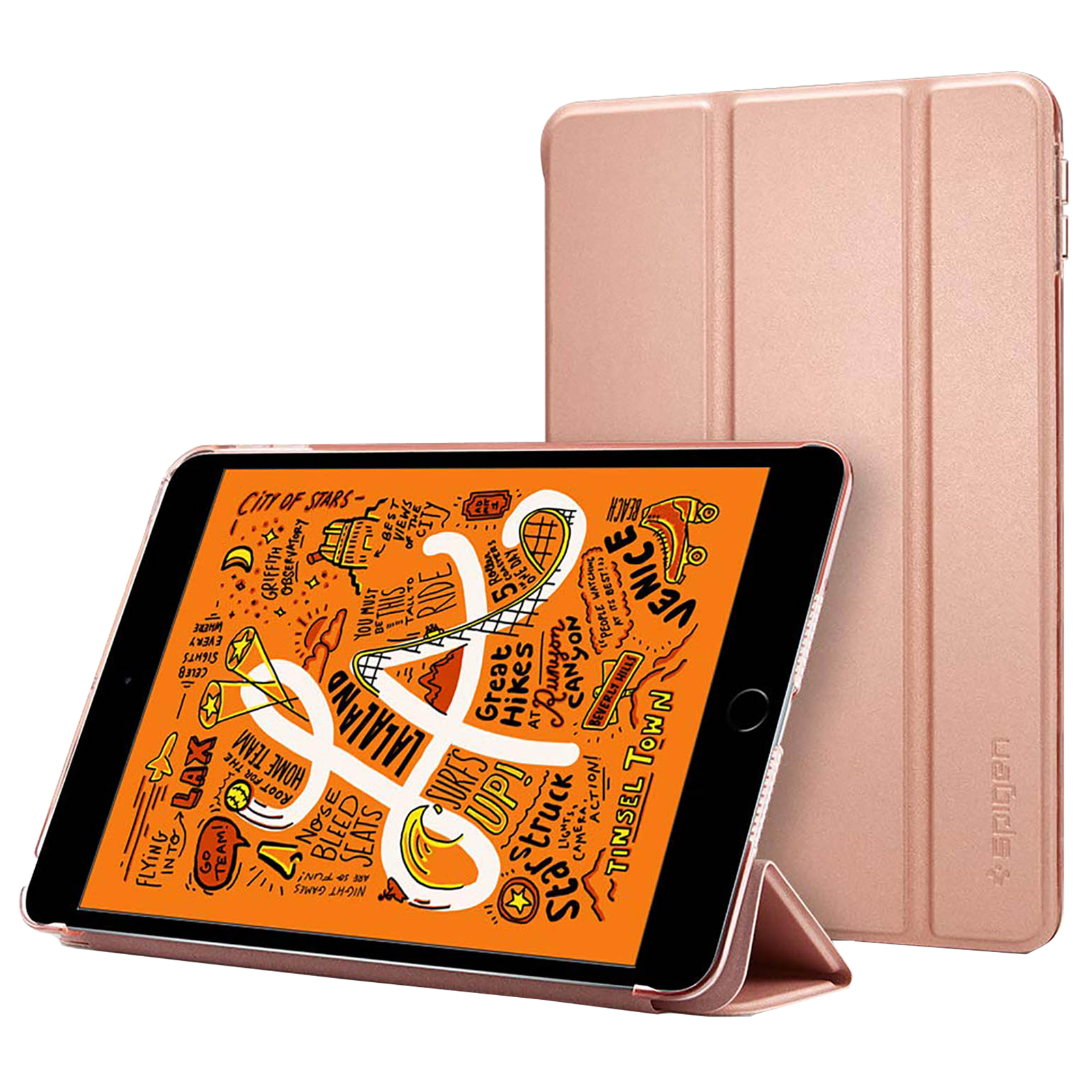 Spigen Smart Fold Back Case with Stand For iPad Mini 5 (2019) (Secure Magnetic Closure, 051CS26113, Rose Gold)_1