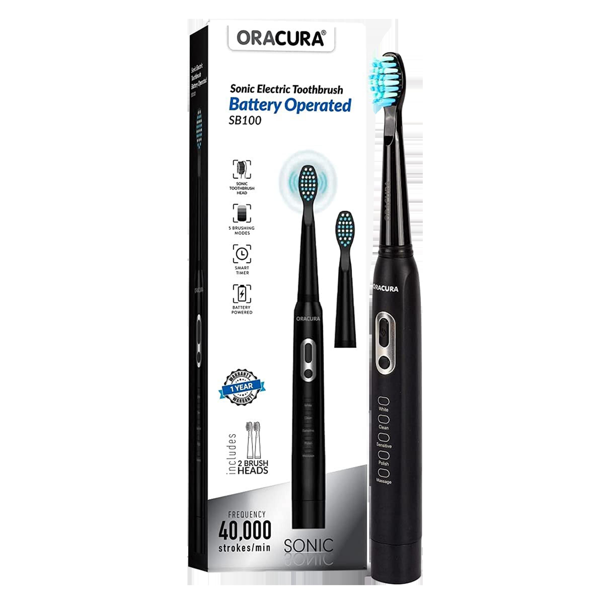 Oracura Electric Toothbrush for Unisex (Superior Gum Protection, SB100B, Black)_1