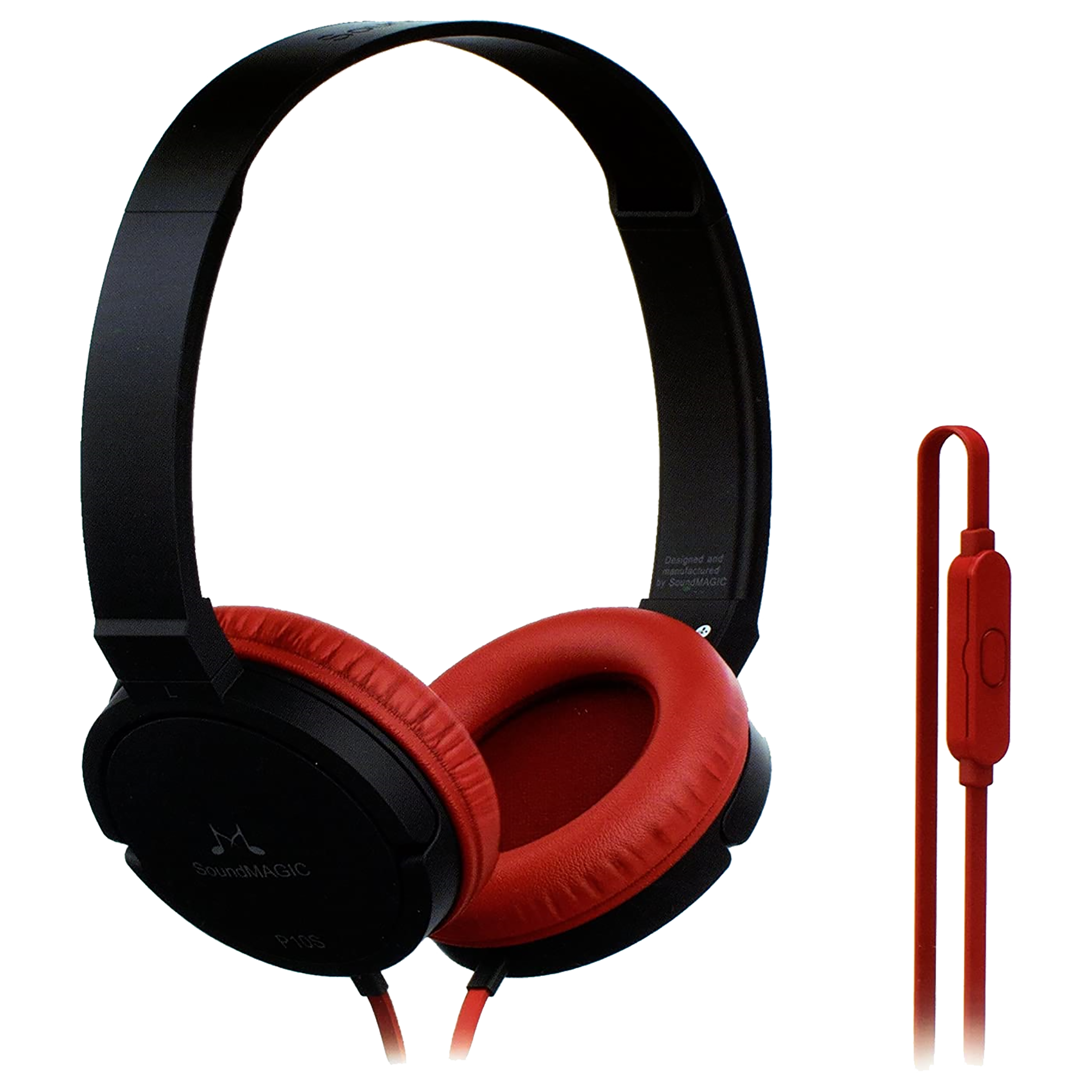 SoundMAGIC Over-Ear Noise Isolation Wired Headphone with Mic (Tangle Resistant Cord, P10S, Red)_1
