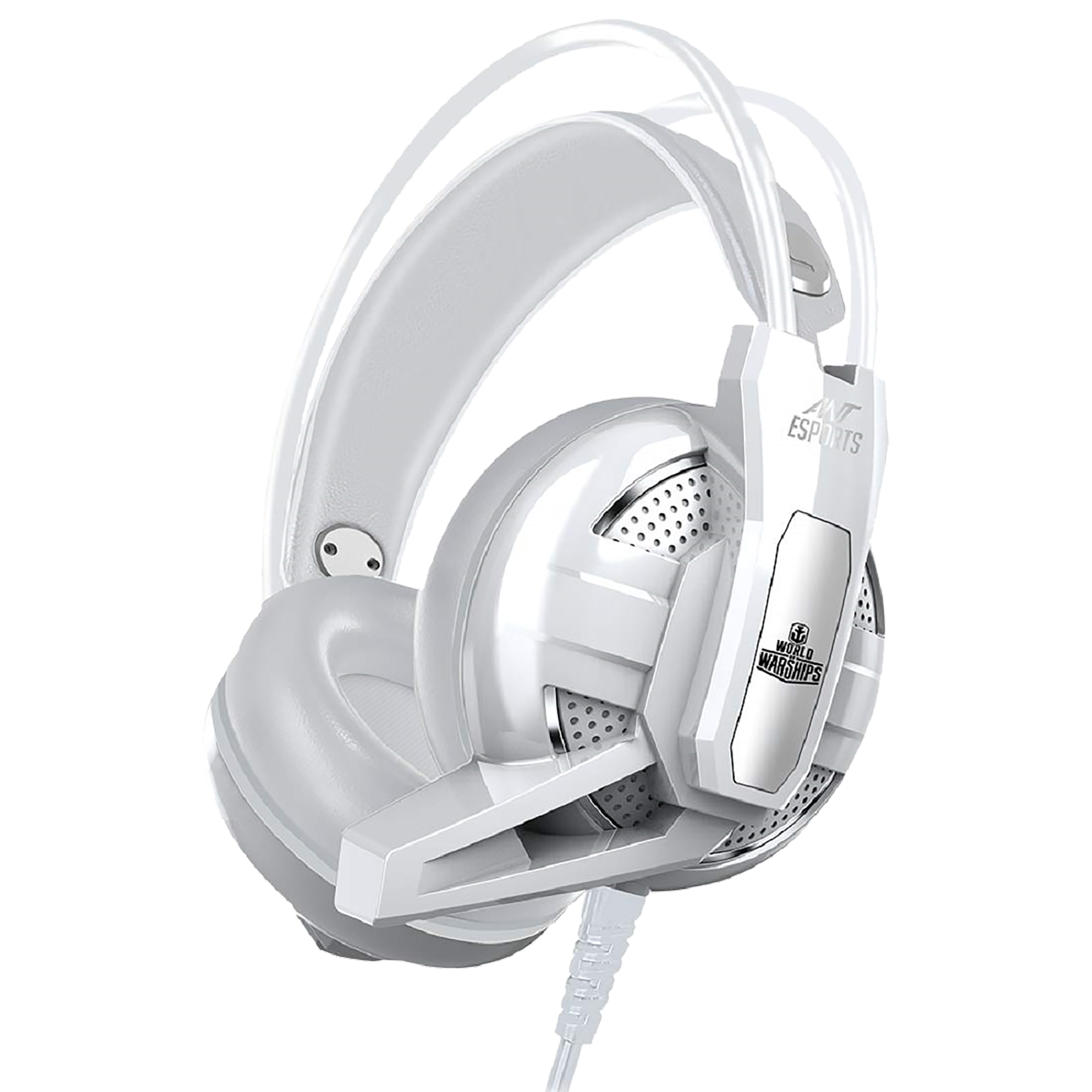 Ant Esports Over-Ear Active Noise Cancellation Wired Headset with Mic (High Quality 40mm Speakers, H520W, White)_1