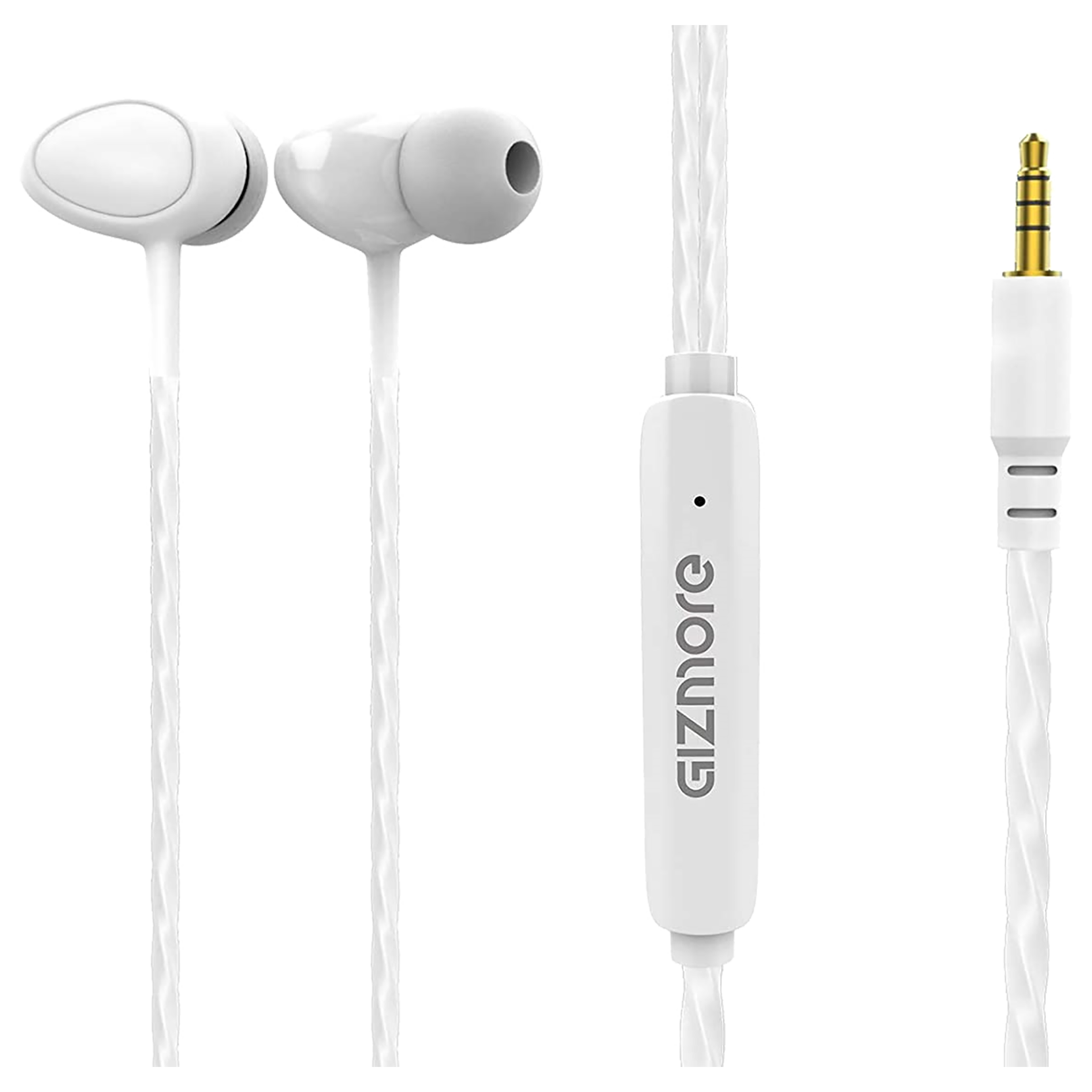 Gizmore Giz In-Ear Wired Earphone with Mic (Tangle-Free Cable, ME301, White)_1
