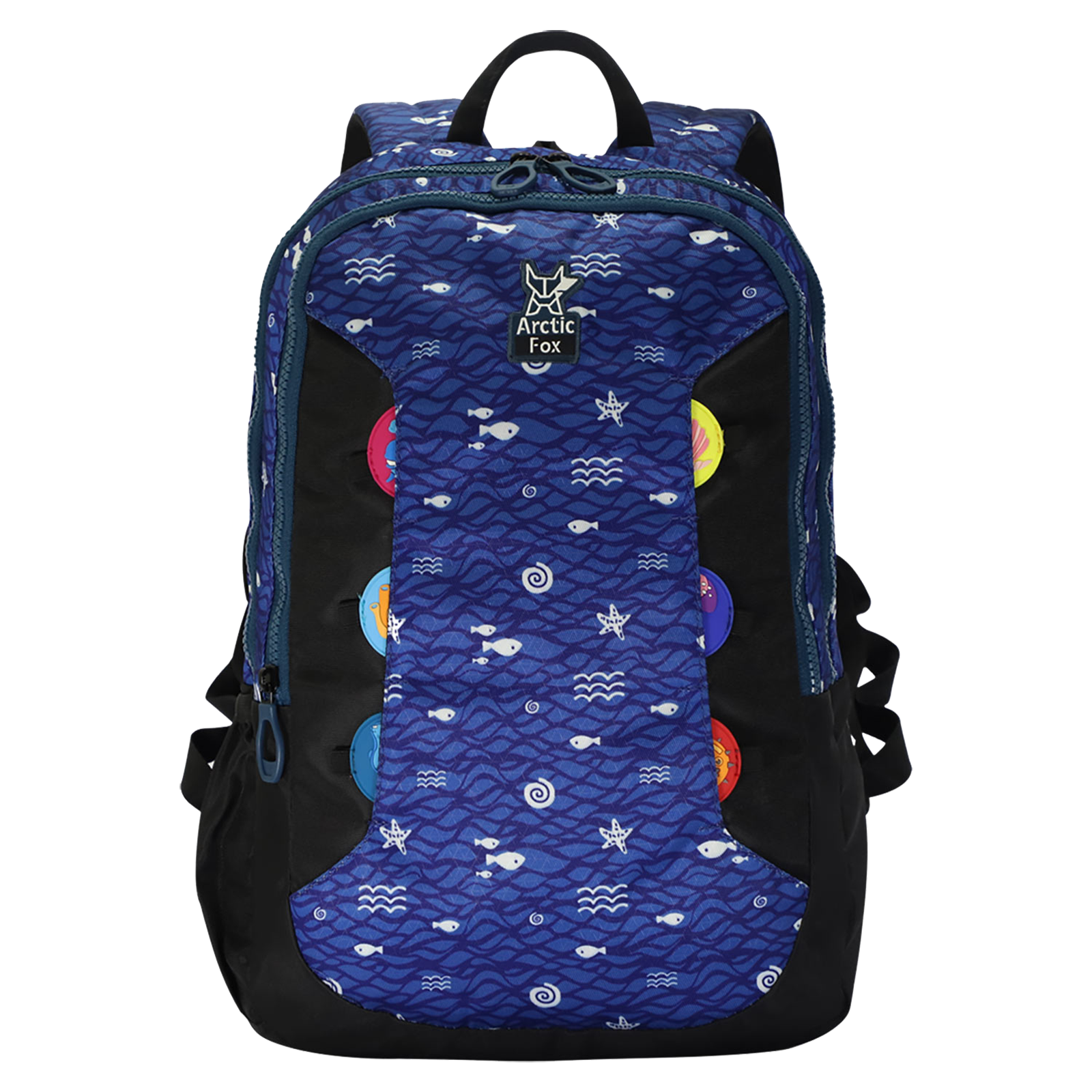 Arctic Fox 20 Litres Twill Polyester Kids Backpack (Water Repellent Fabric, FKIBPKSEAON010020, Blue)_1