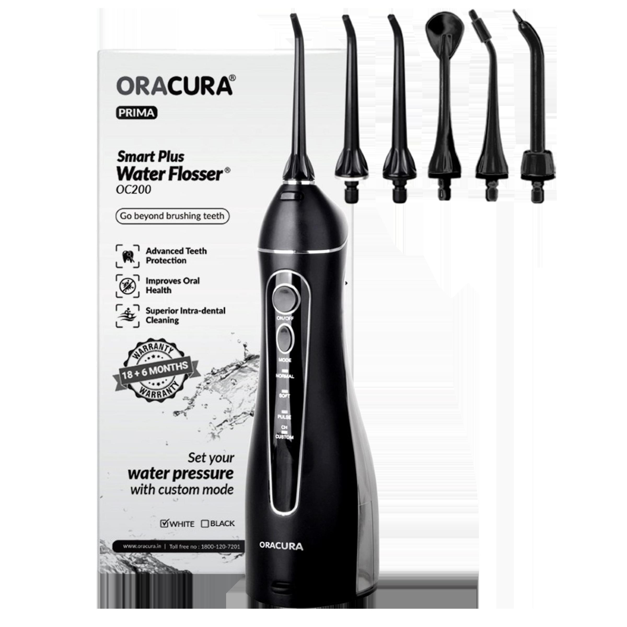 Oracura Smart Plus Dental Floss for Unisex (4 Custom Modes, OC200B, Black)_1