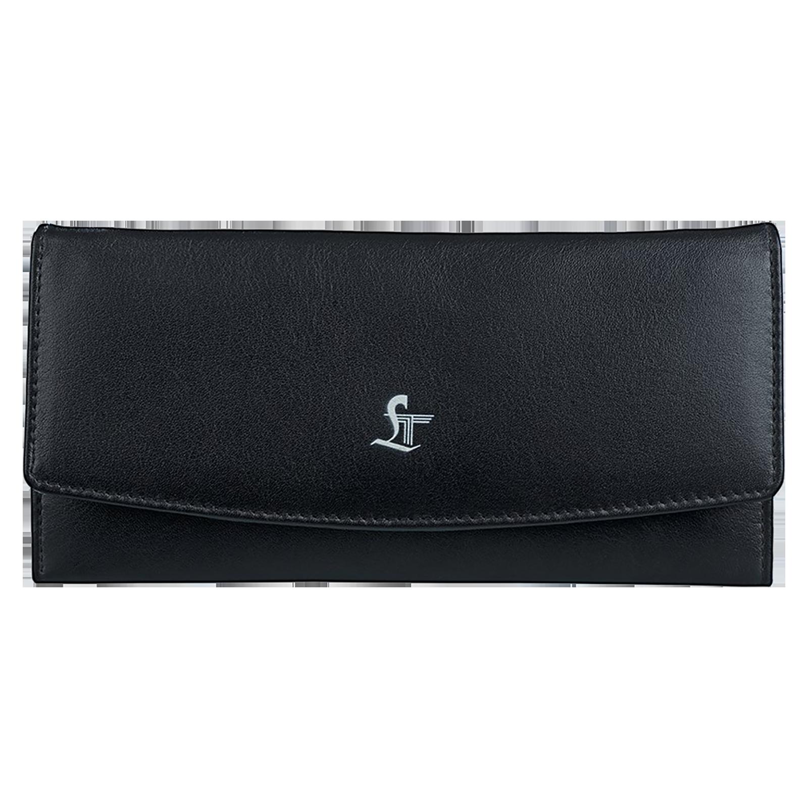 Leather Talks Ladies Smart Wallet (Built-in Tracker, LT/SR/006, Black)_1